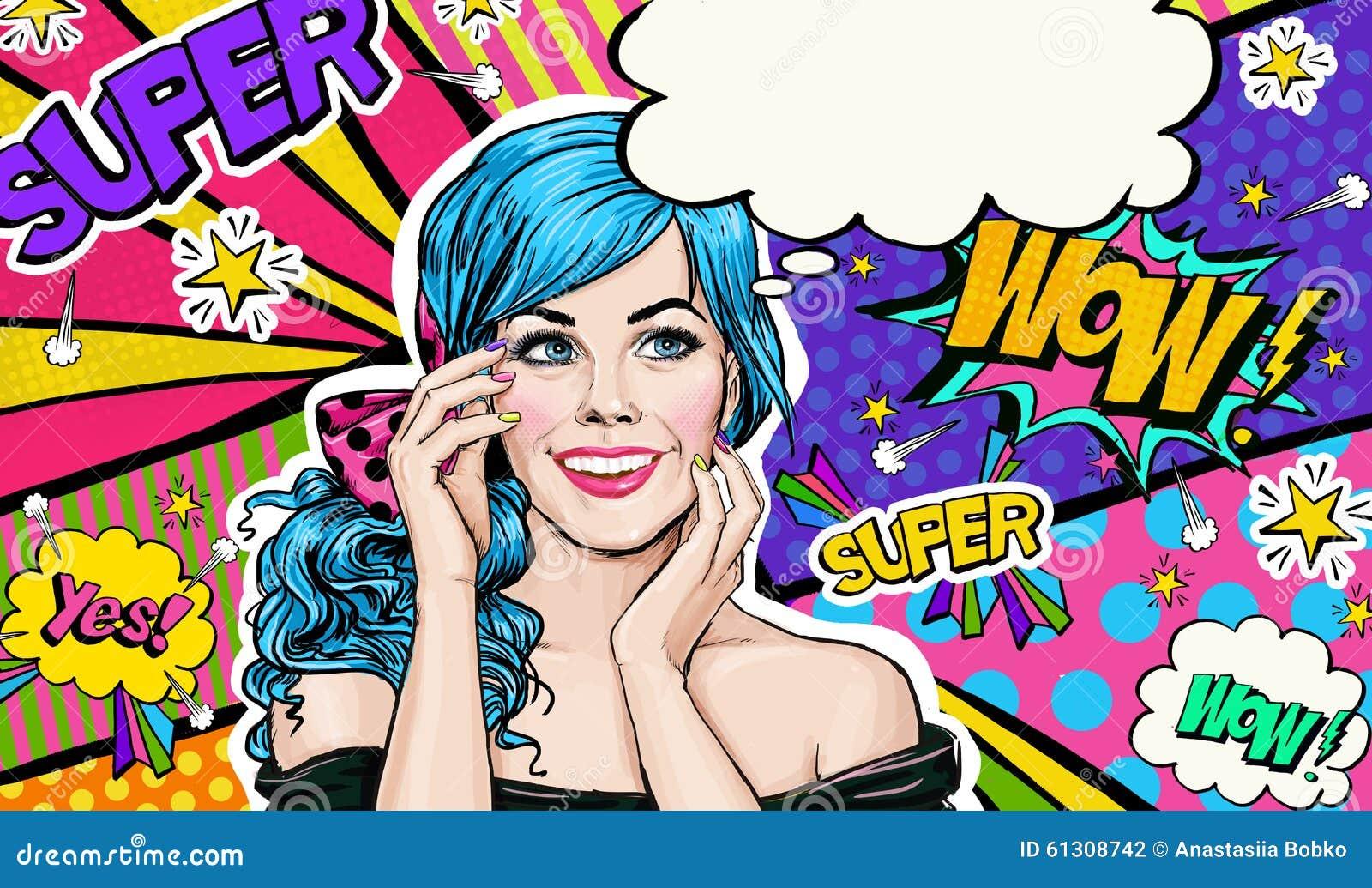 Illustrazione di Pop art della ragazza della testa del blu sul fondo di Pop art Ragazza di Pop art Invito del partito Cartolina d