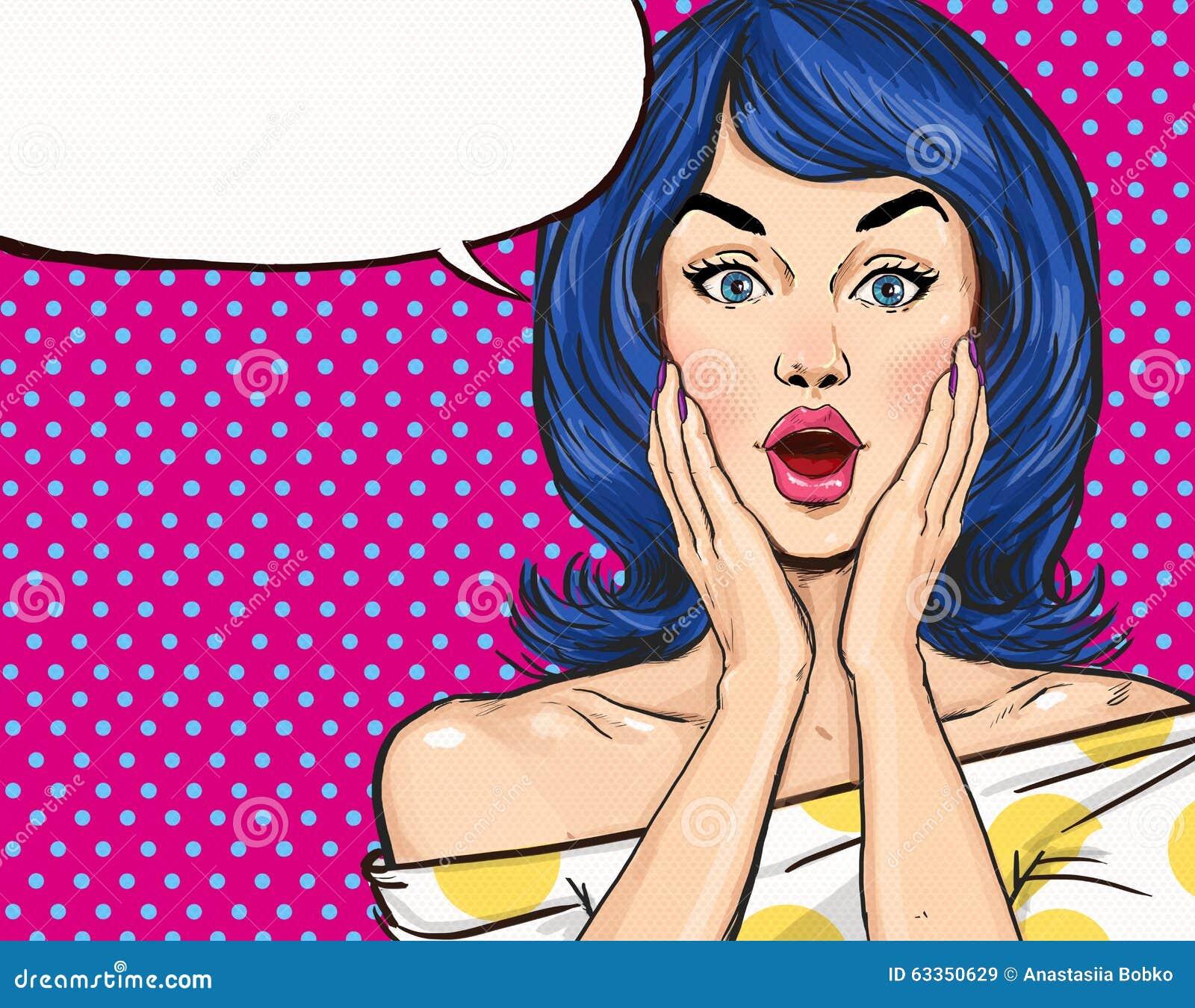 Illustrazione di Pop art della ragazza sorpresa con il fumetto Ragazza di Pop art Invito del partito Cartolina d auguri di comple