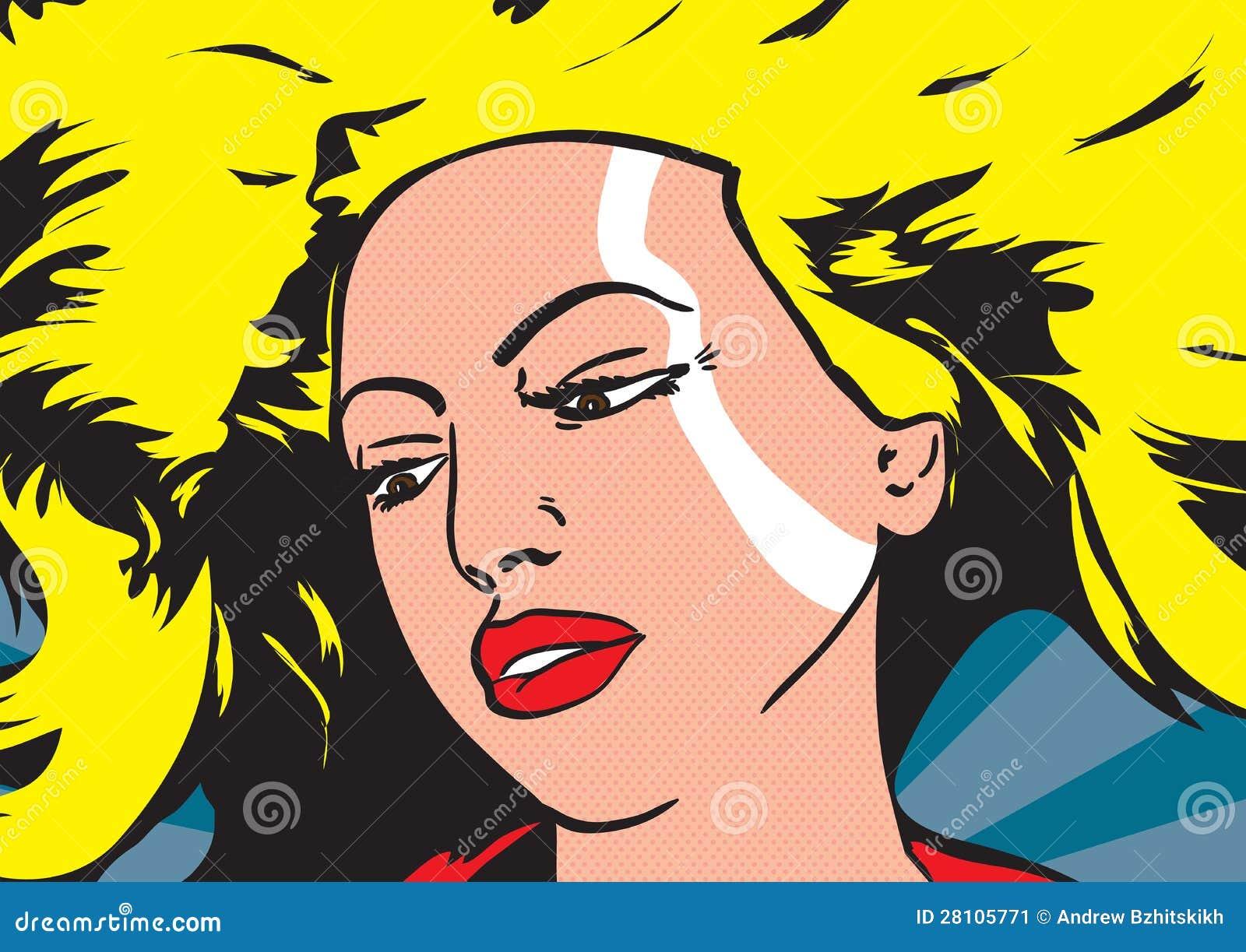 Illustrazione Di Pop Art Di Una Donna Illustrazione di ...