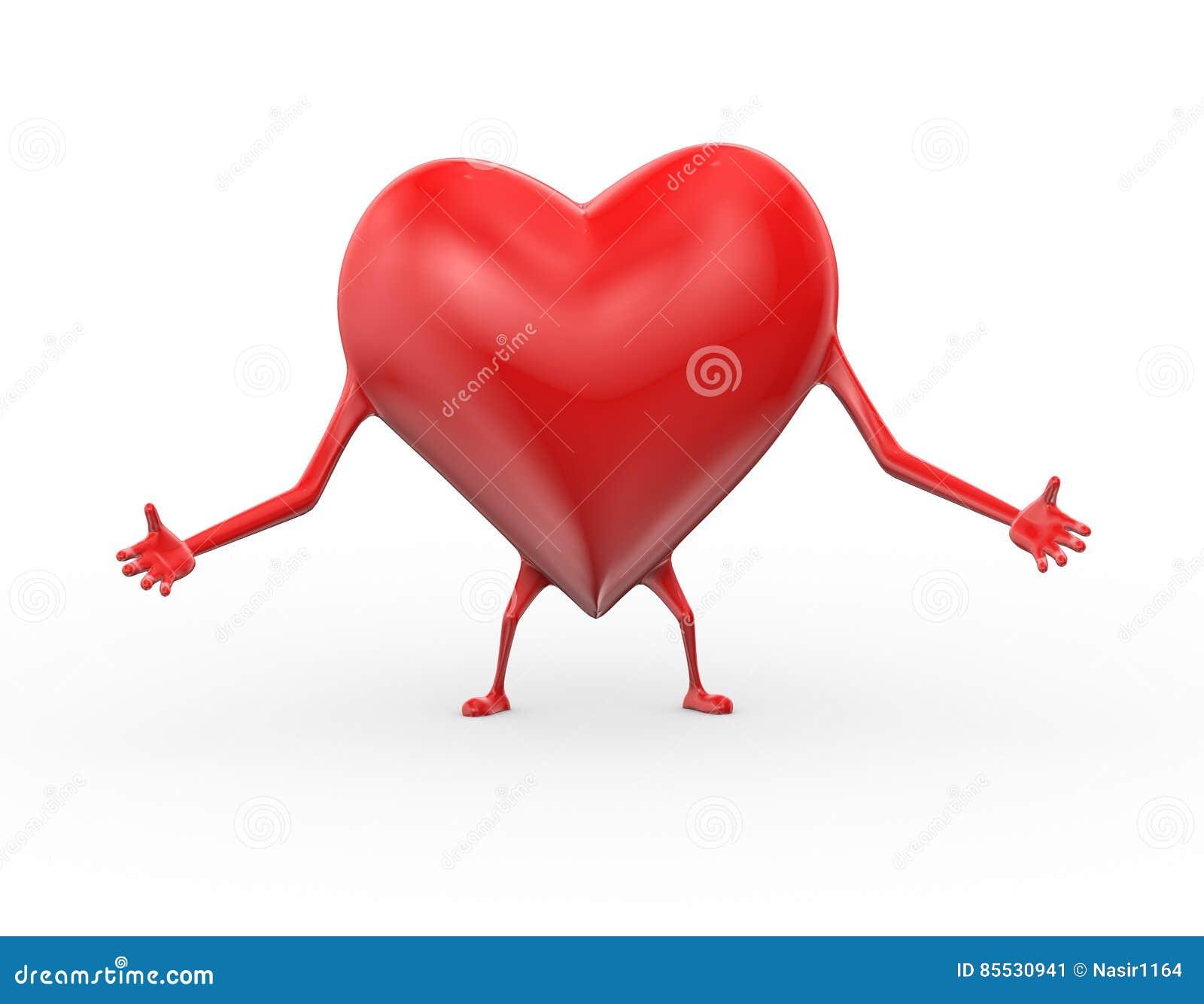 Illustrazione Di Posa Dell Abbraccio Di Amore Del Cuore 3d