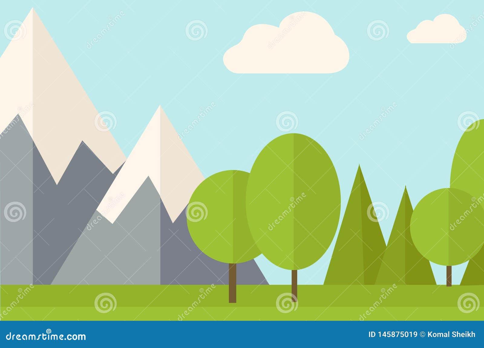 Illustrazione di progettazione del fondo del giardino della montagna dell albero