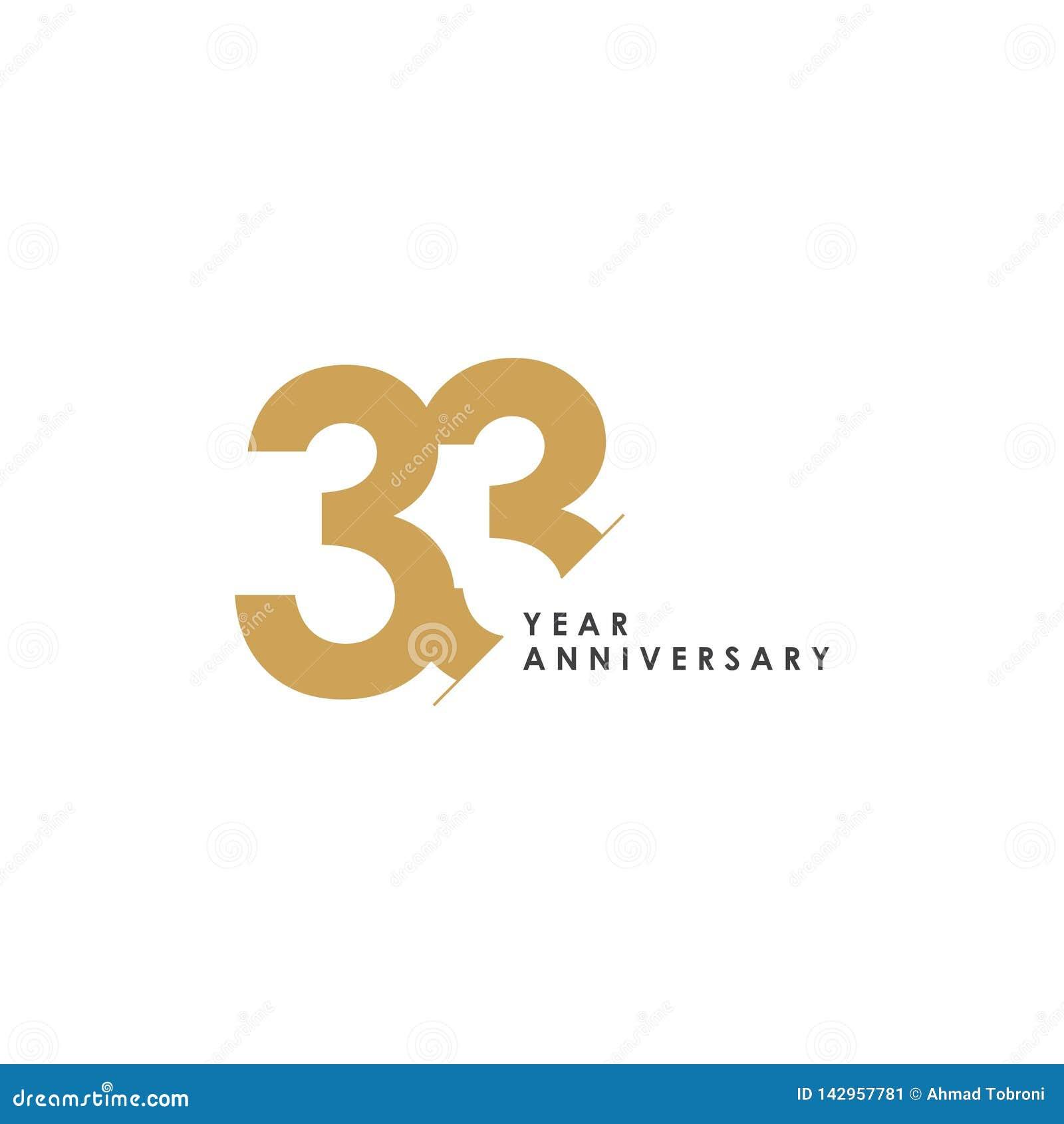 Anniversario Matrimonio 33 Anni.Illustrazione Di Progettazione Del Modello Di Vettore Di