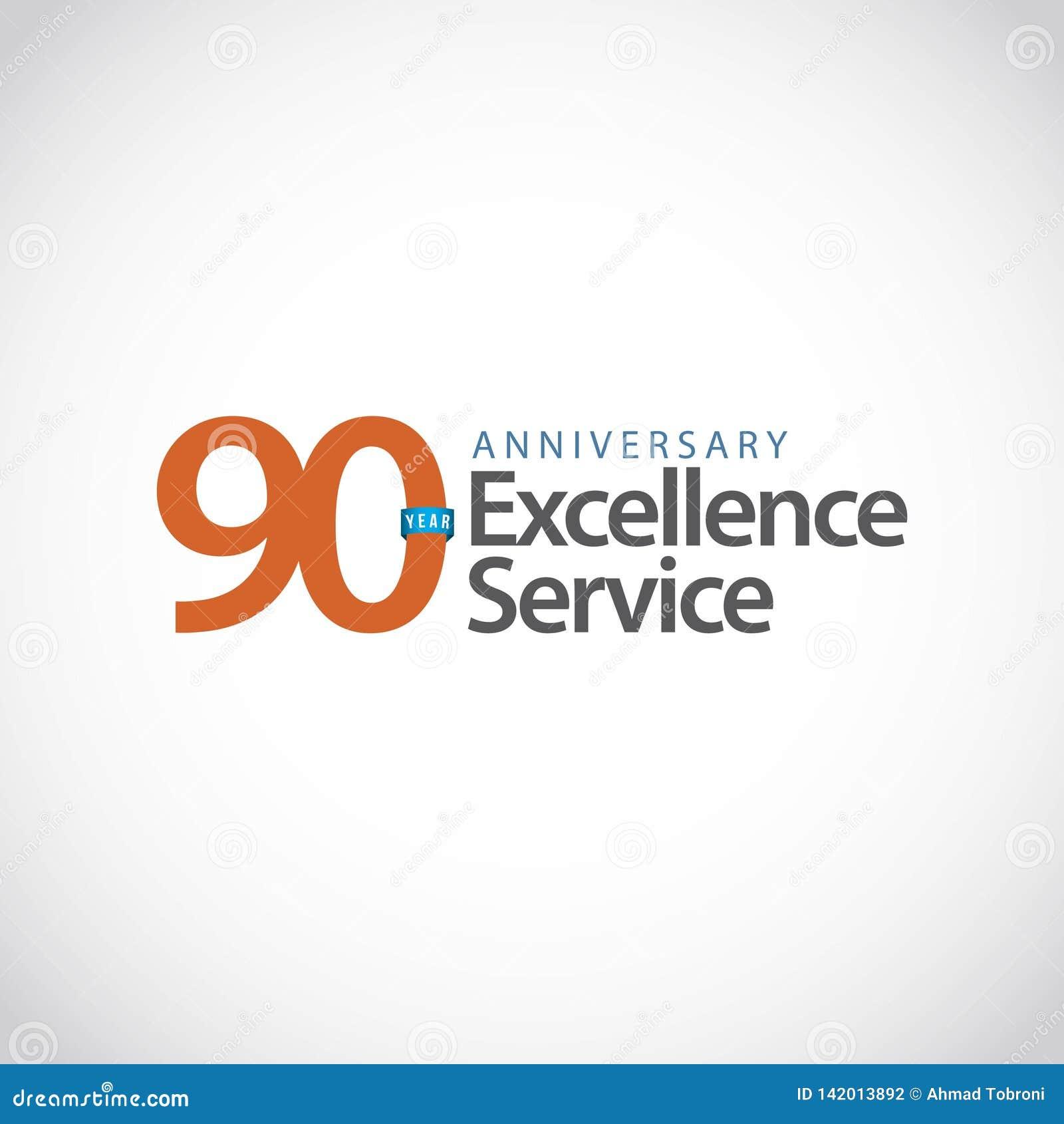 Illustrazione di progettazione del modello di vettore di servizio di eccellenza di anniversario di 90 anni