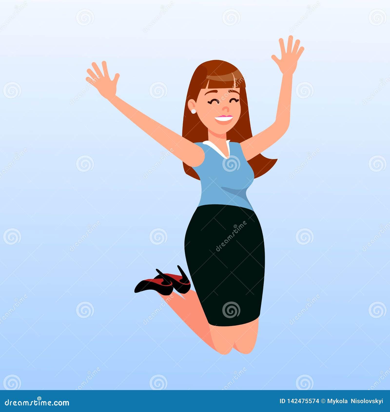 Illustrazione di salto di vettore del fumetto della donna felice