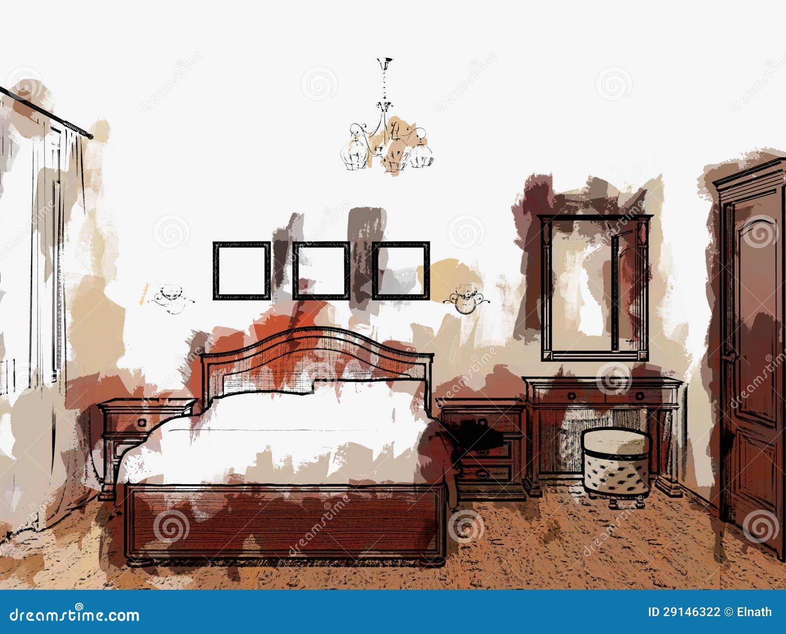 illustrazione di schizzo delle camere da letto
