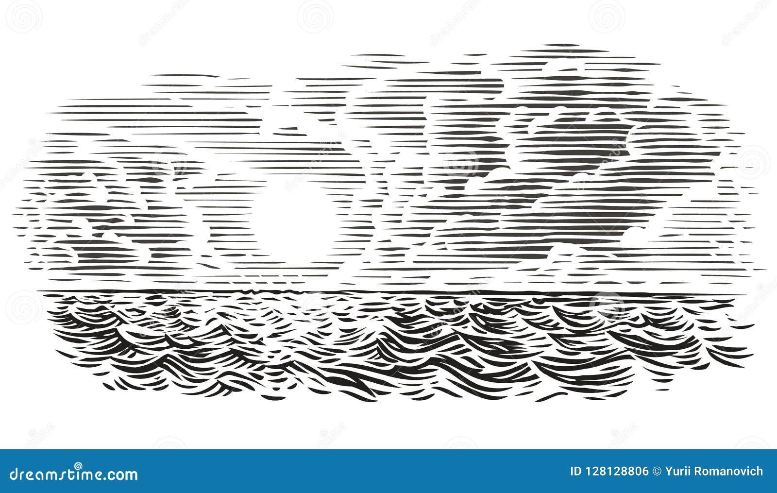 Illustrazione di stile dell incisione di vista del mare Vettore, isolato, stratificato