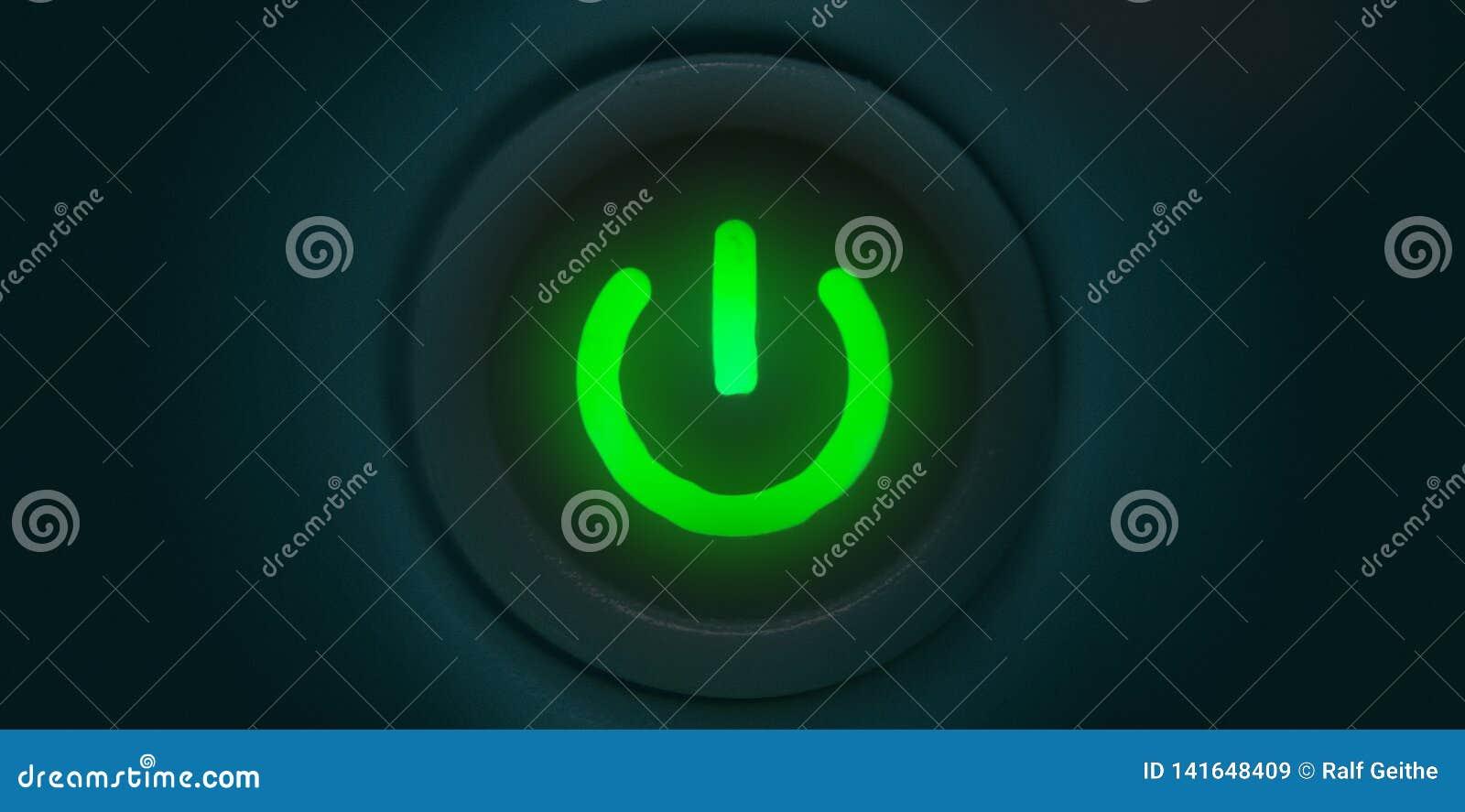 Illustrazione di un bottone di potere verde come fondo nella rappresentazione 3D