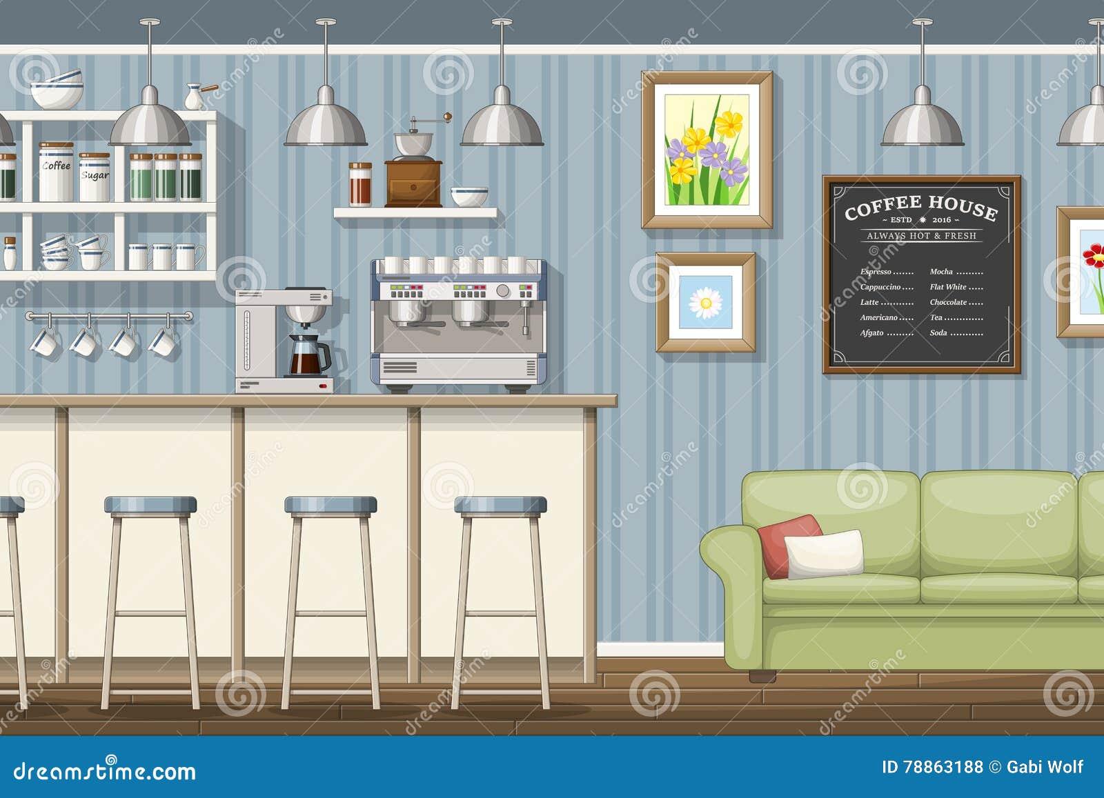Illustrazione di un coffeeshop classico illustrazione for Mobilia lavagna