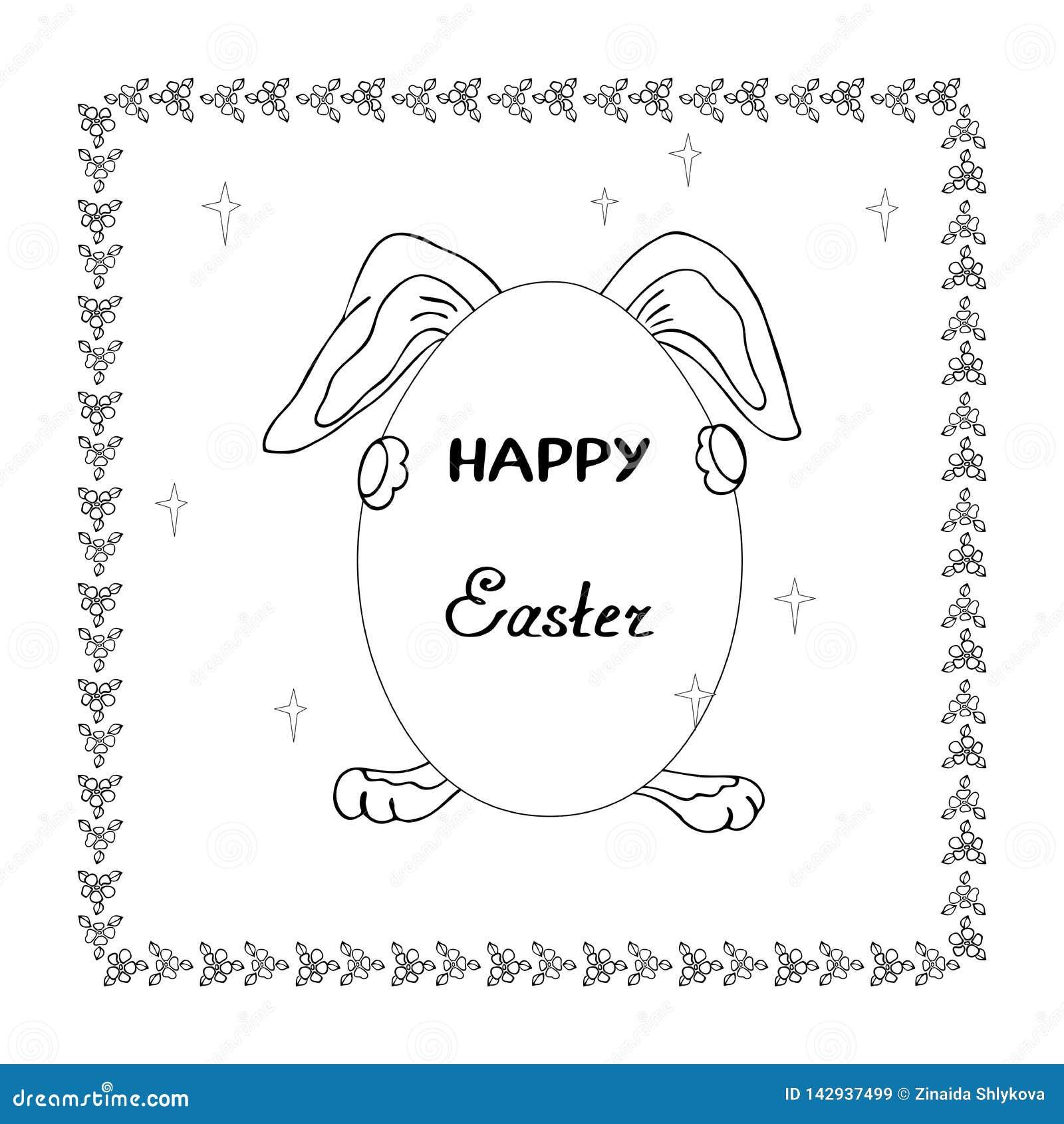 Illustrazione di un coniglio che tiene un uovo nella festività della resurrezione per i bambini che colorano e la decorazione di