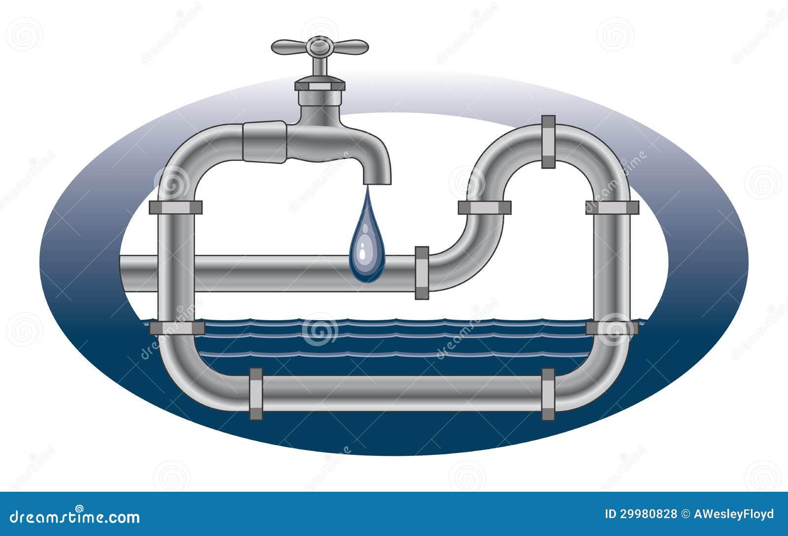 Disegno dell 39 impianto idraulico del rubinetto della for Tubi del serbatoio dell acqua calda