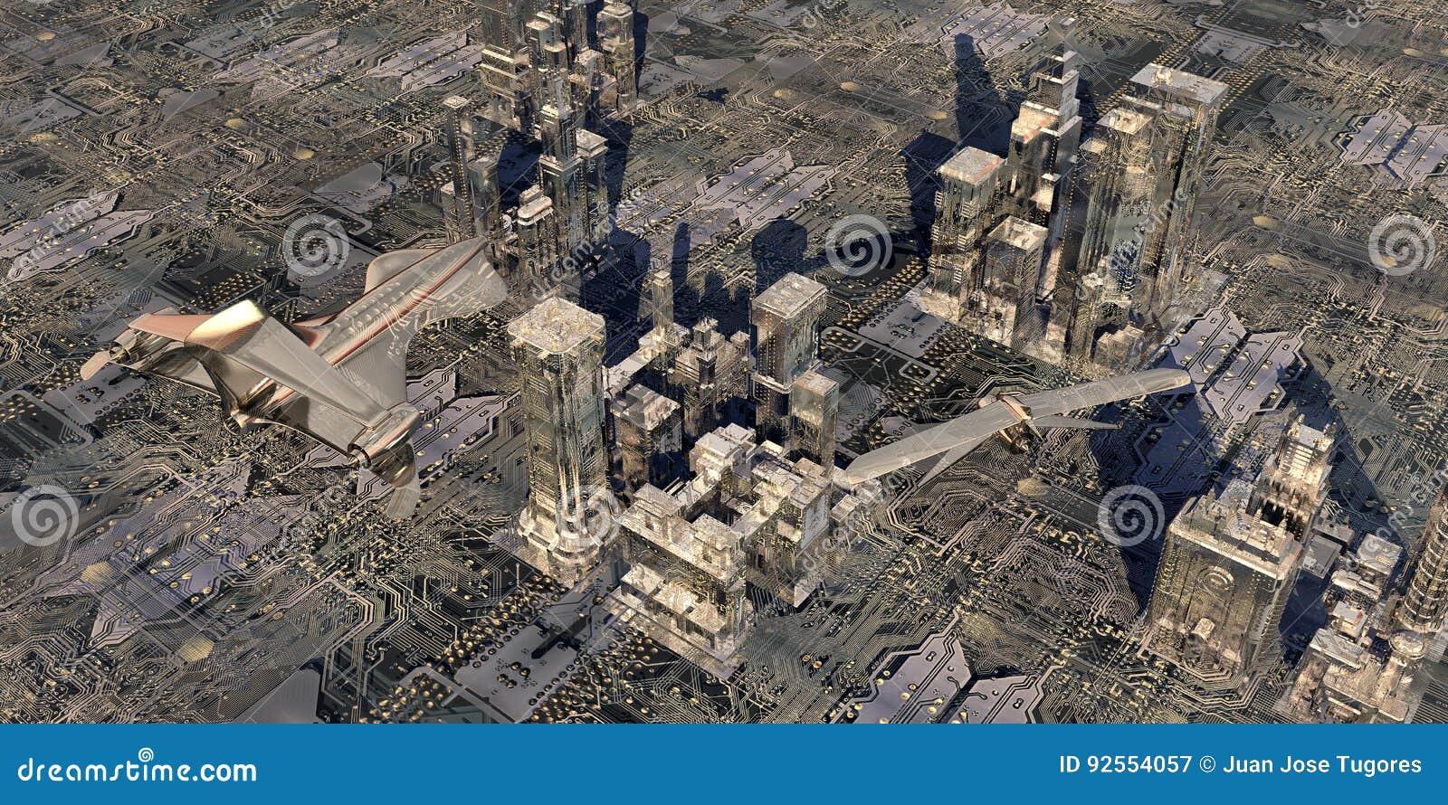 Illustrazione di una città elettronica