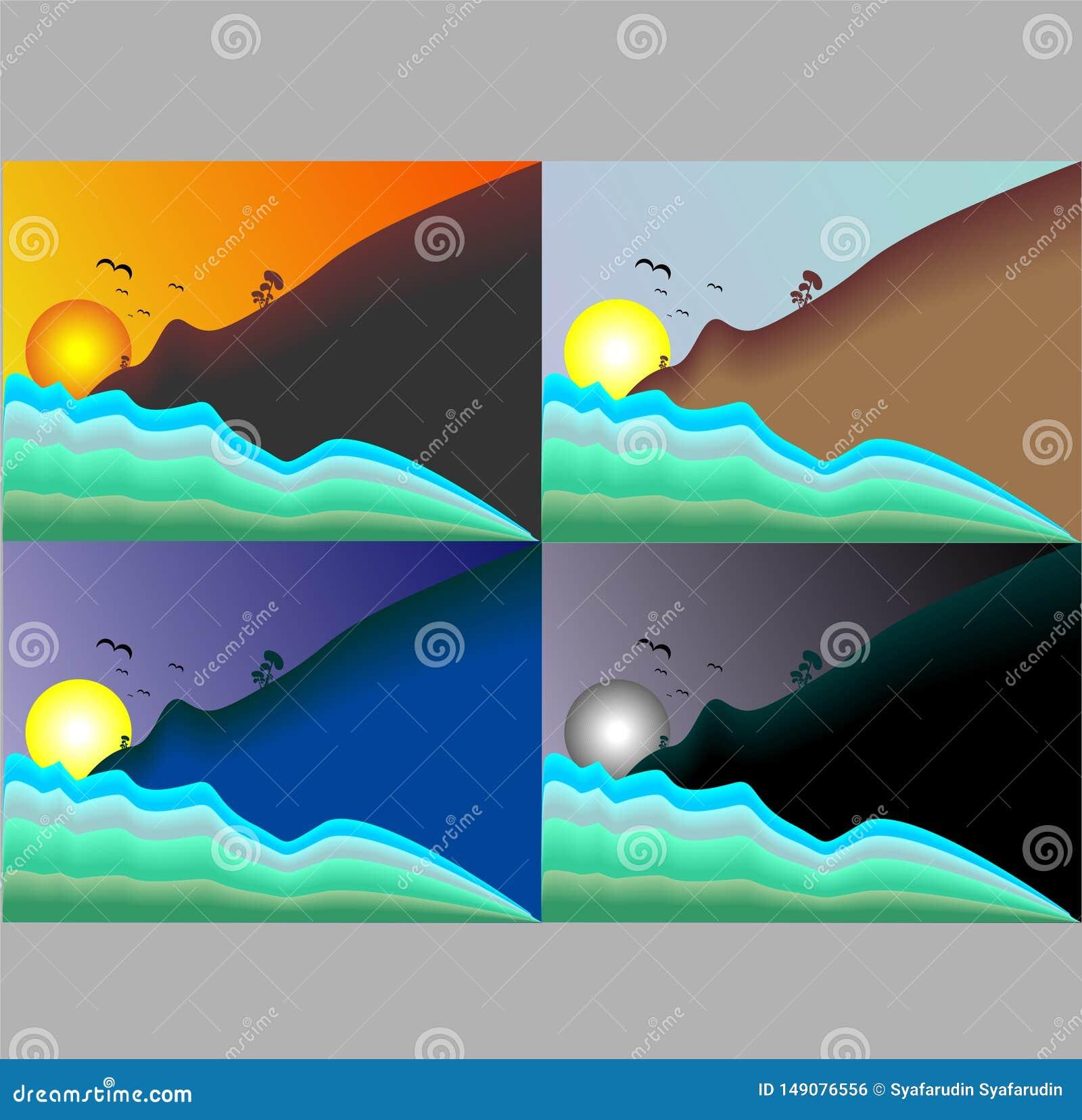 Illustrazione di una collezione di viste del cielo e del sole