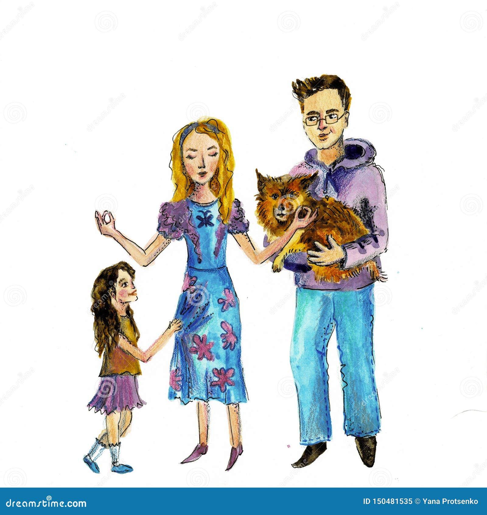 Illustrazione di una famiglia felice con un cane Illustrazione dell acquerello