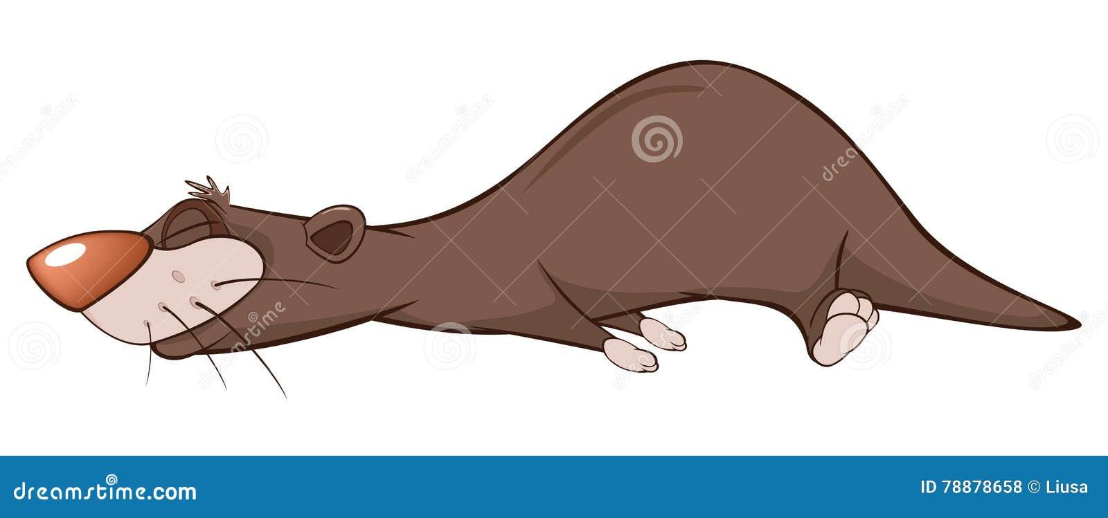 Illustrazione di una lontra sveglia personaggio dei cartoni animati