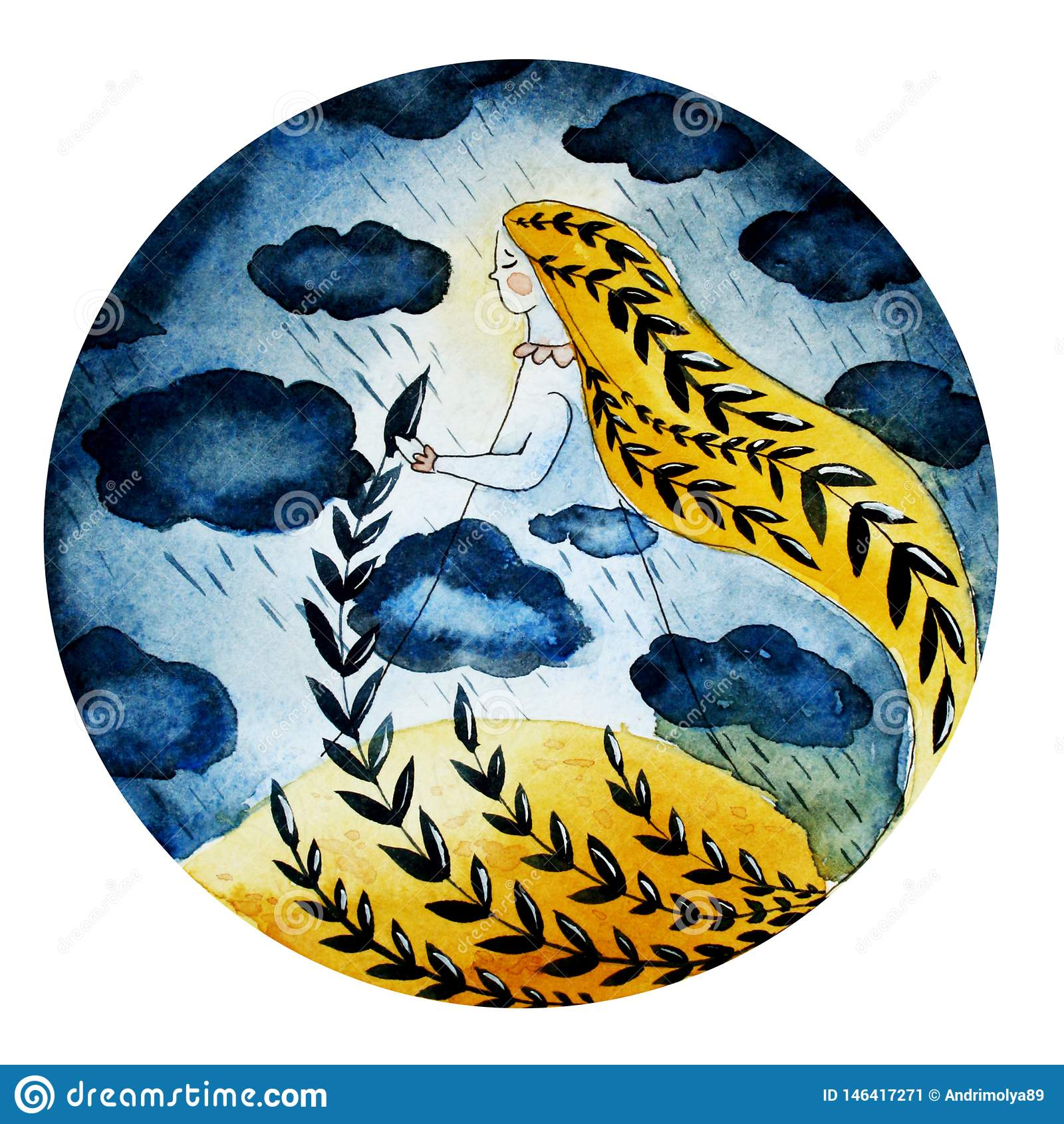 Illustrazione di una ragazza delle nuvole e della pioggia