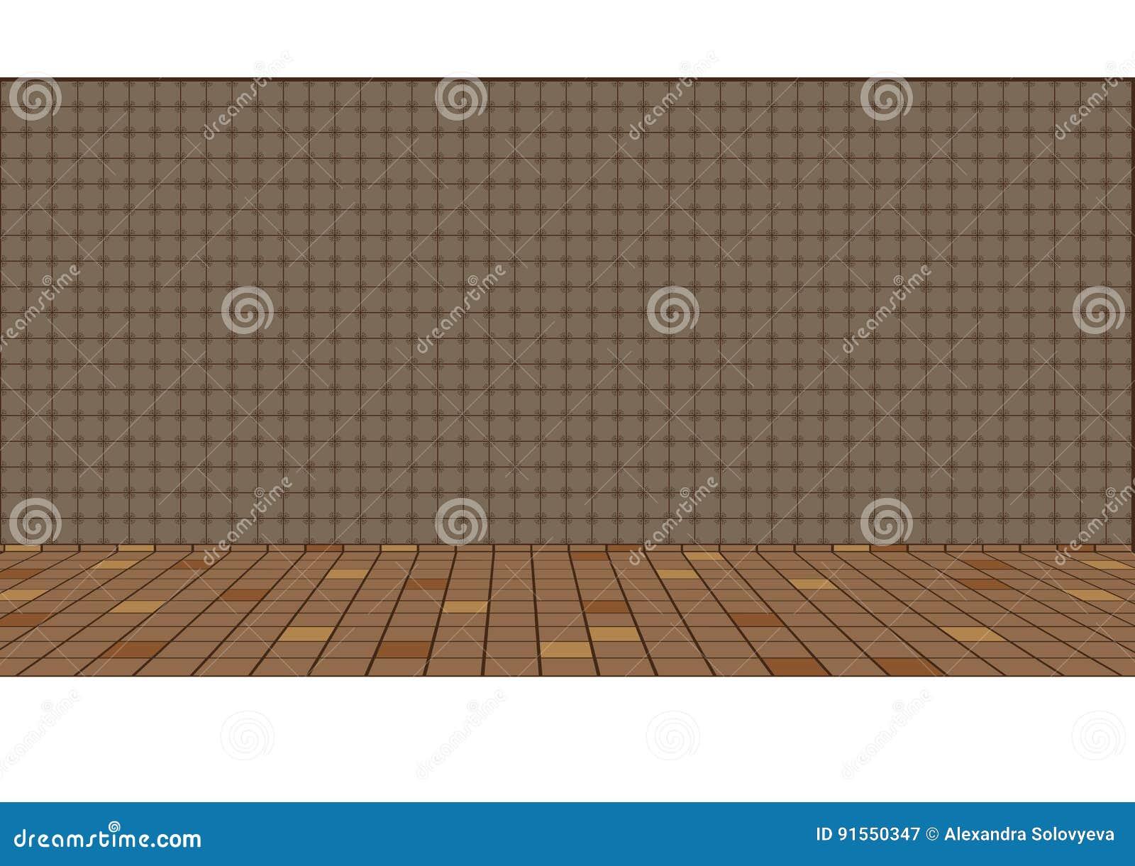 Illustrazione di vecchio pavimento tradizionale della cucina e di
