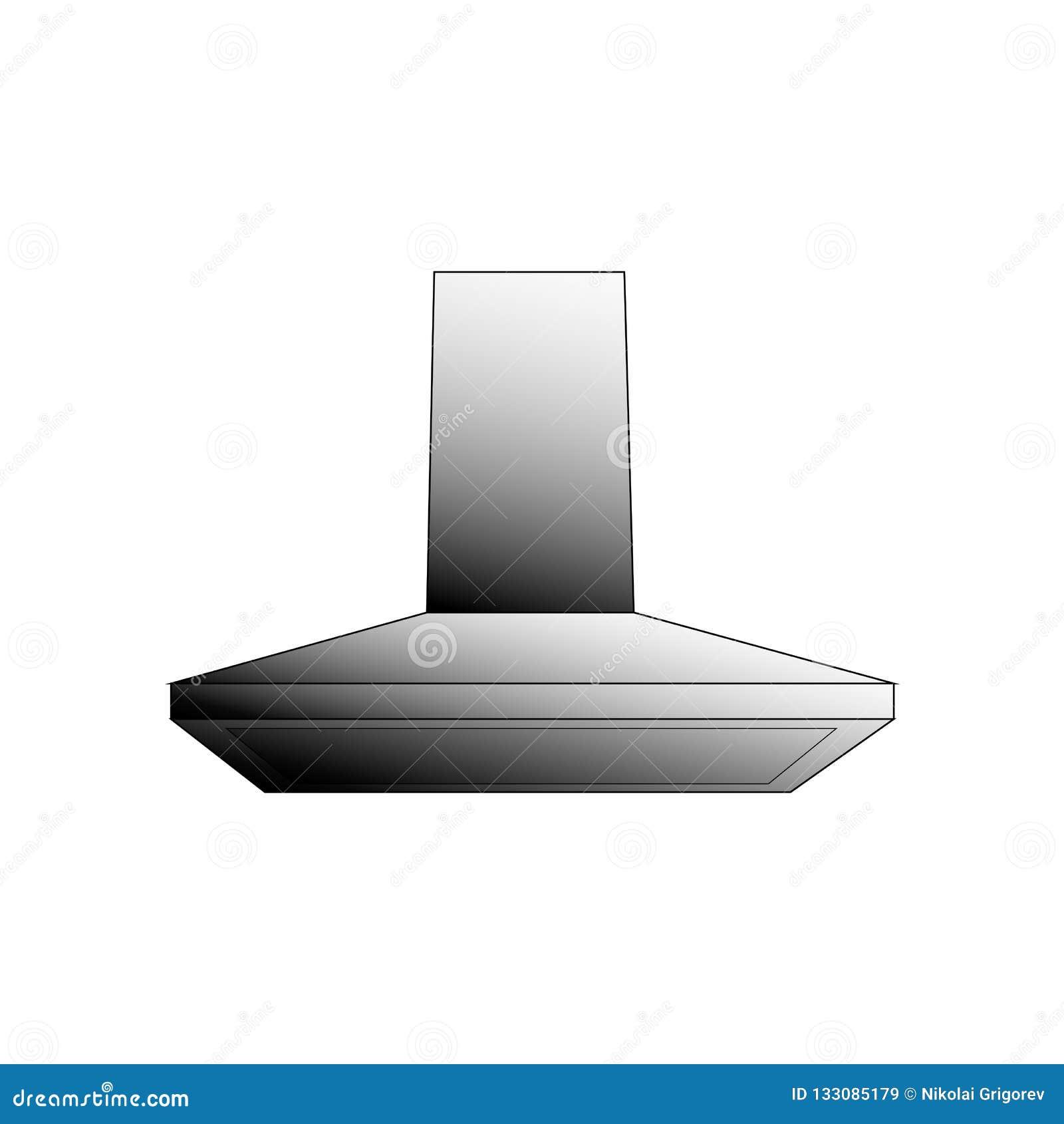 Illustrazione di ventilazione della cucina di vettore su un fondo bianco