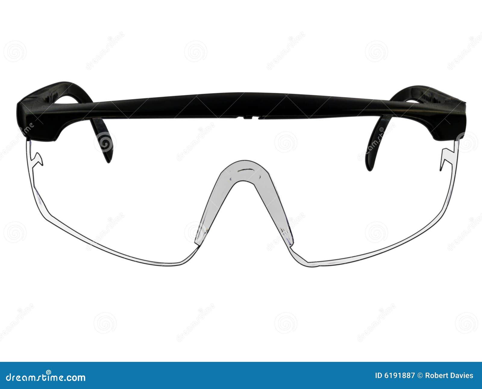 Illustrazione di vetro degli occhiali di protezione di sicurezza su bianco