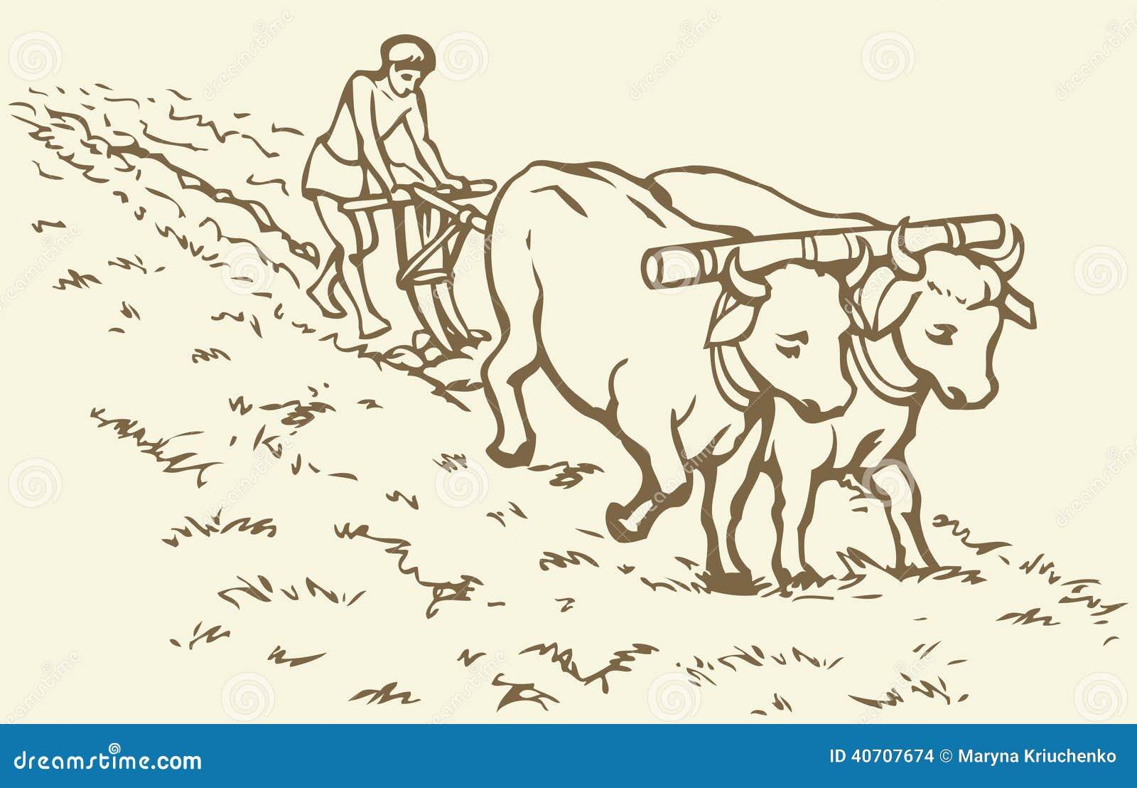 Illustrazione di vettore Agricoltura primitiva Campo trattato contadino