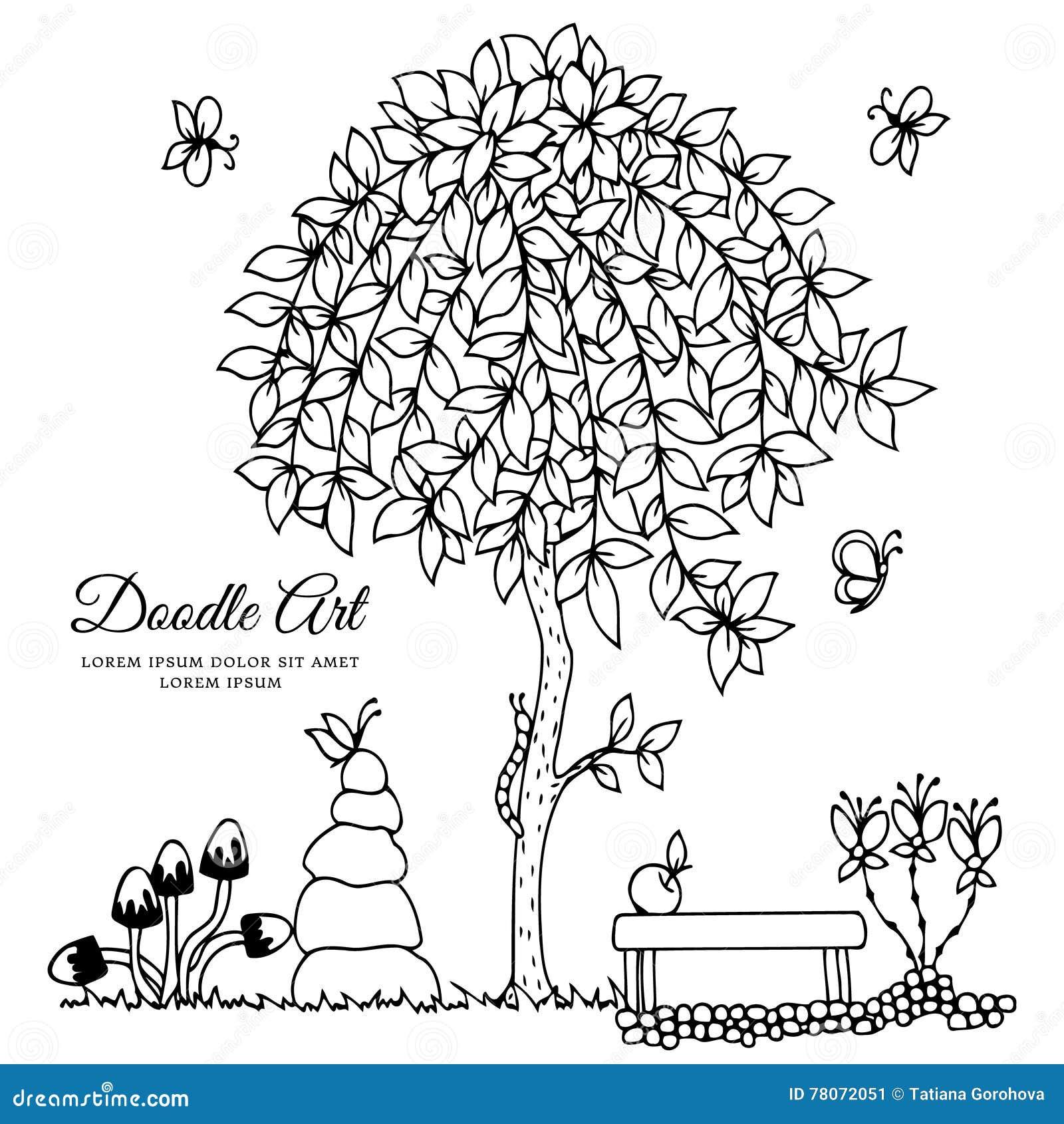 Illustrazione Di Vettore Banco E Un Albero Disegno Di Scarabocchio