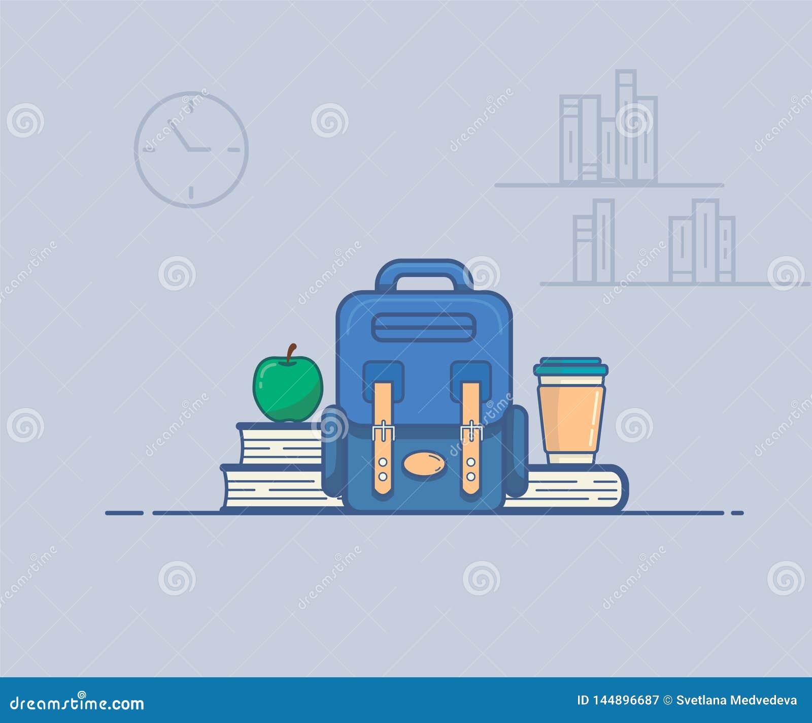 Illustrazione di vettore che descrive uno spuntino della scuola