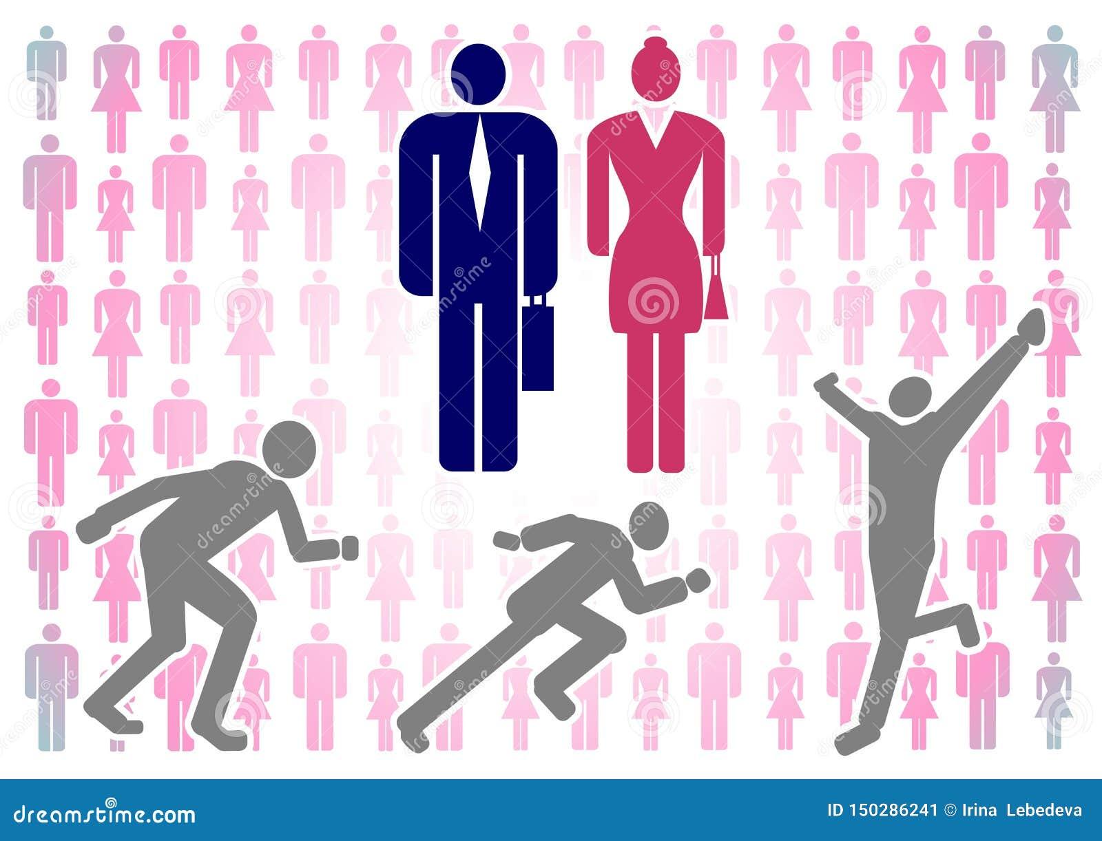 Illustrazione di vettore con le siluette variopinte degli uomini e delle donne su un fondo bianco come pure la figura di un uomo