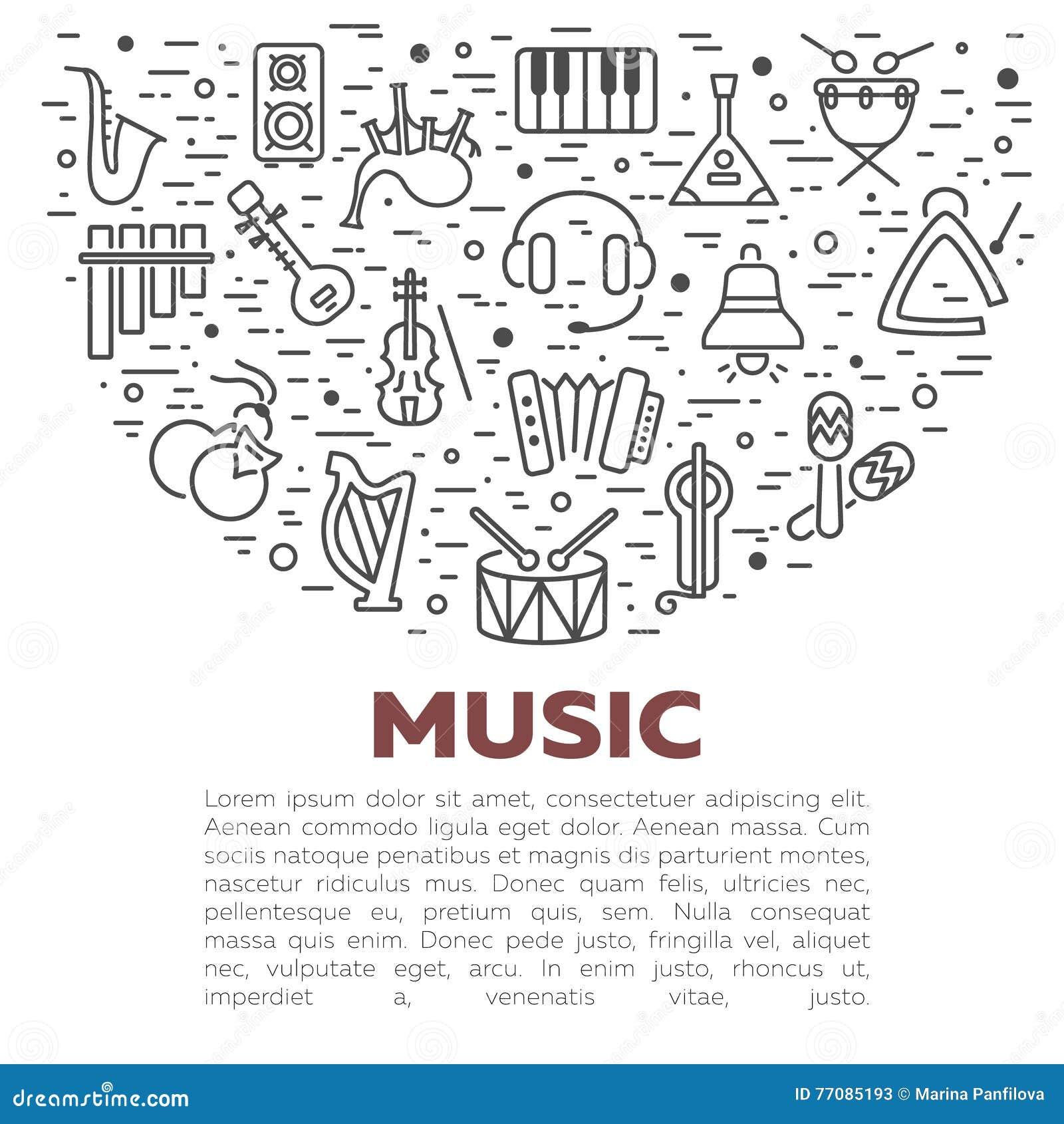 Illustrazione di vettore degli strumenti musicali