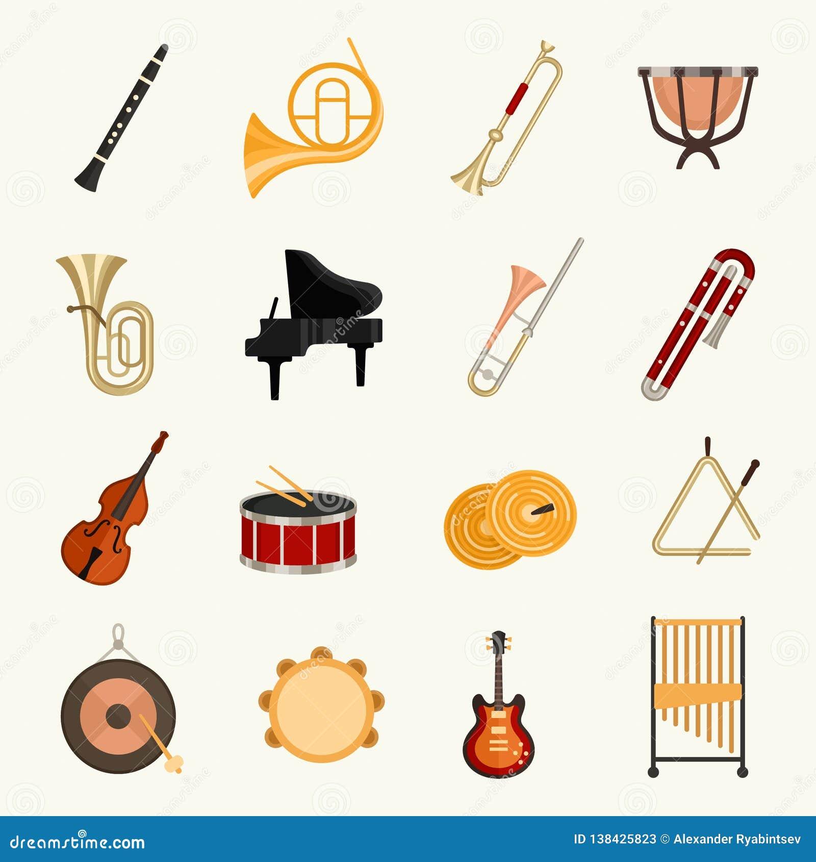 Illustrazione di vettore degli strumenti musicali dell orchestra