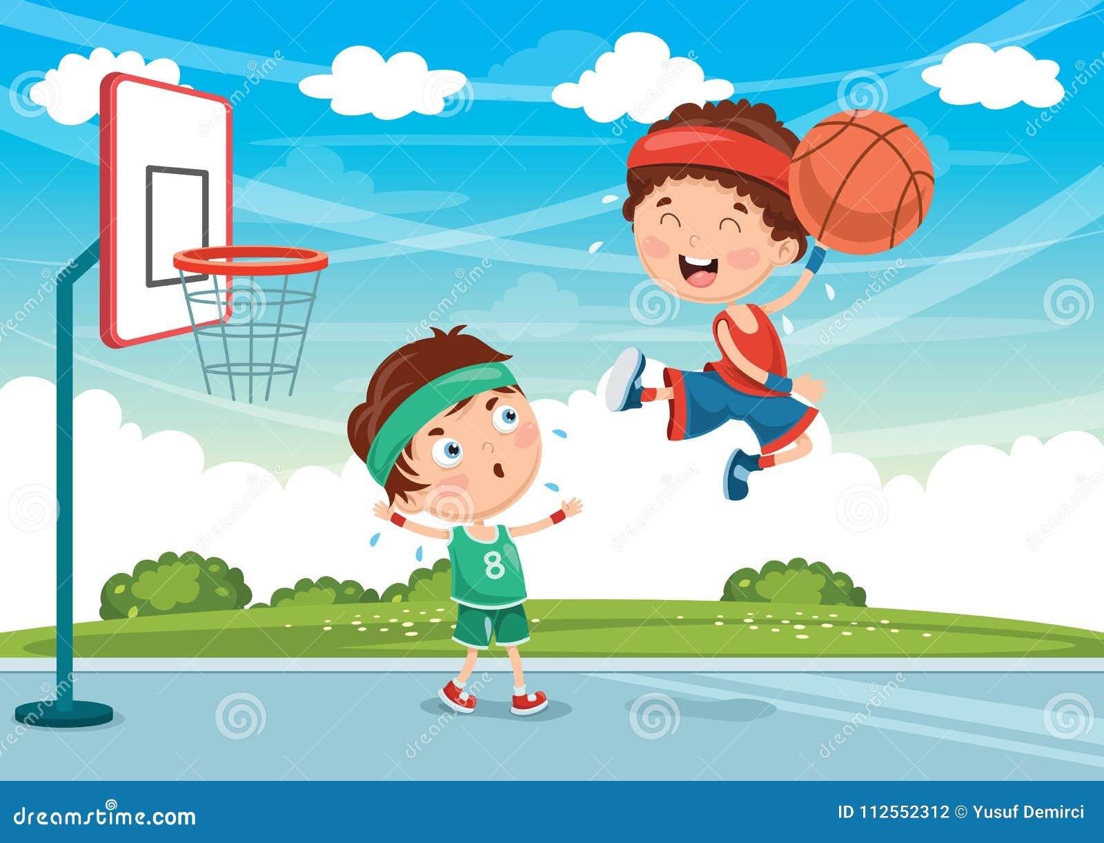 Illustrazione Di Vettore Dei Bambini Che Giocano Pallacanestro