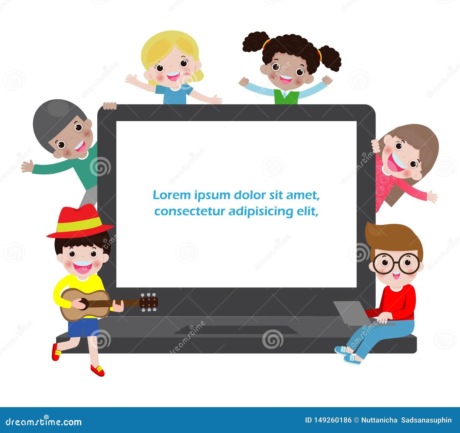 Illustrazione di vettore del bambino che studia con l uso del computer portatile, taccuino, bambini che per mezzo del computer po