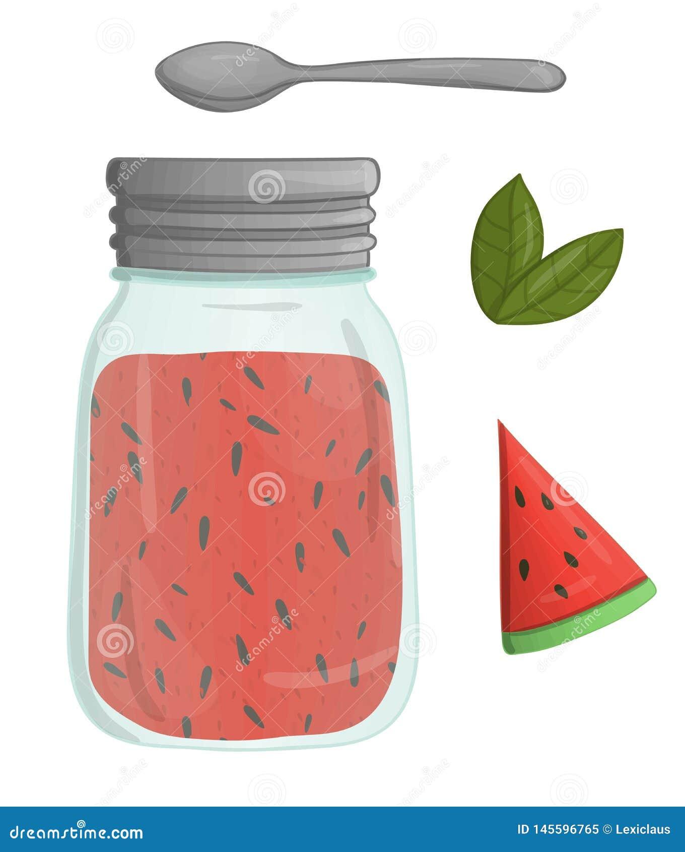 Illustrazione di vettore del barattolo colorato con l inceppamento dell anguria