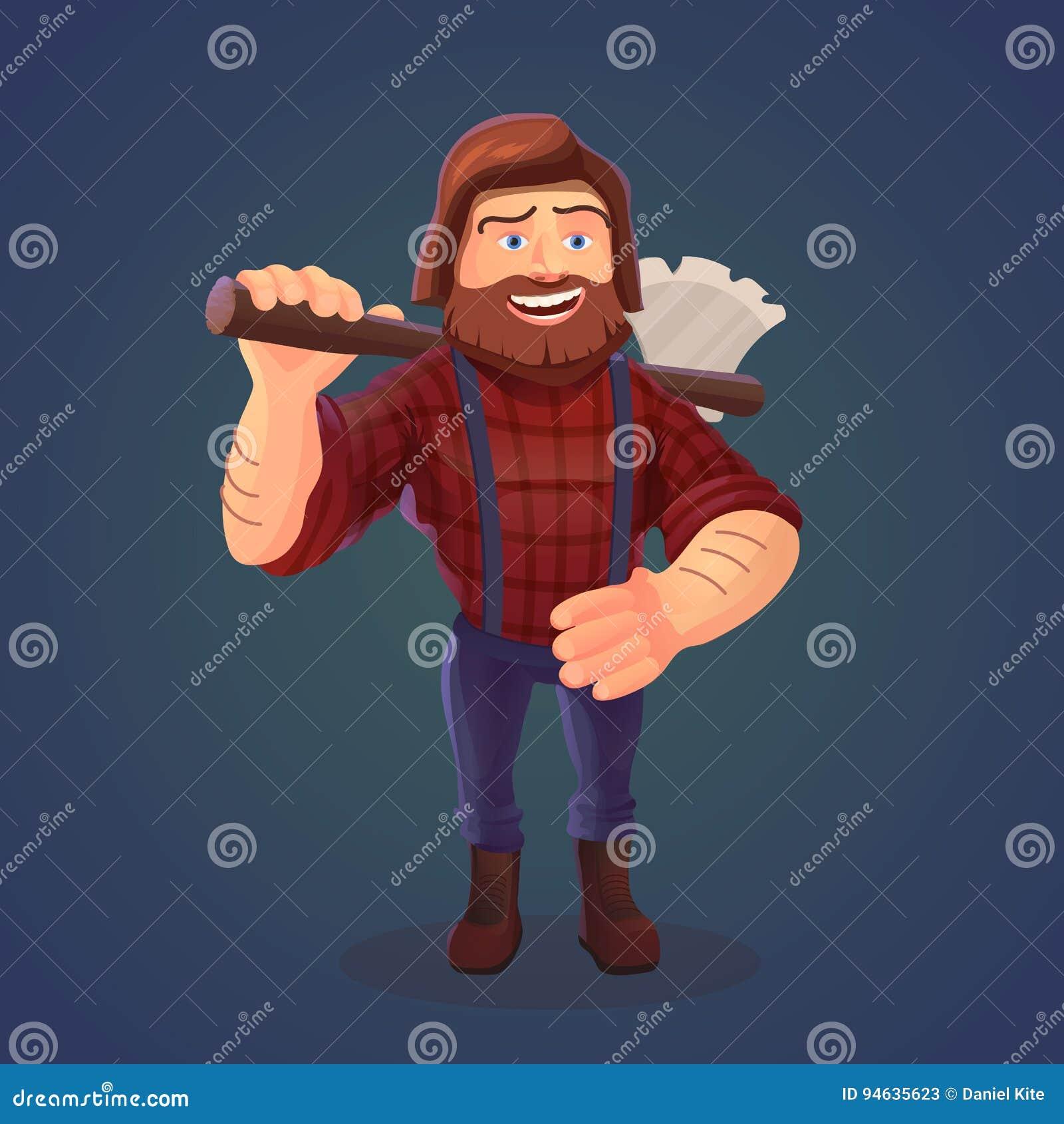 Illustrazione di vettore del boscaiolo diritto con l ascia un