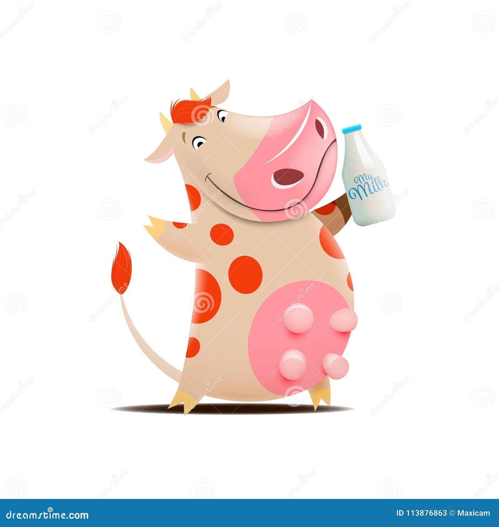 Regalo Mucca Da Latte.Illustrazione Di Vettore Del Botle Del Latte Della Tenuta