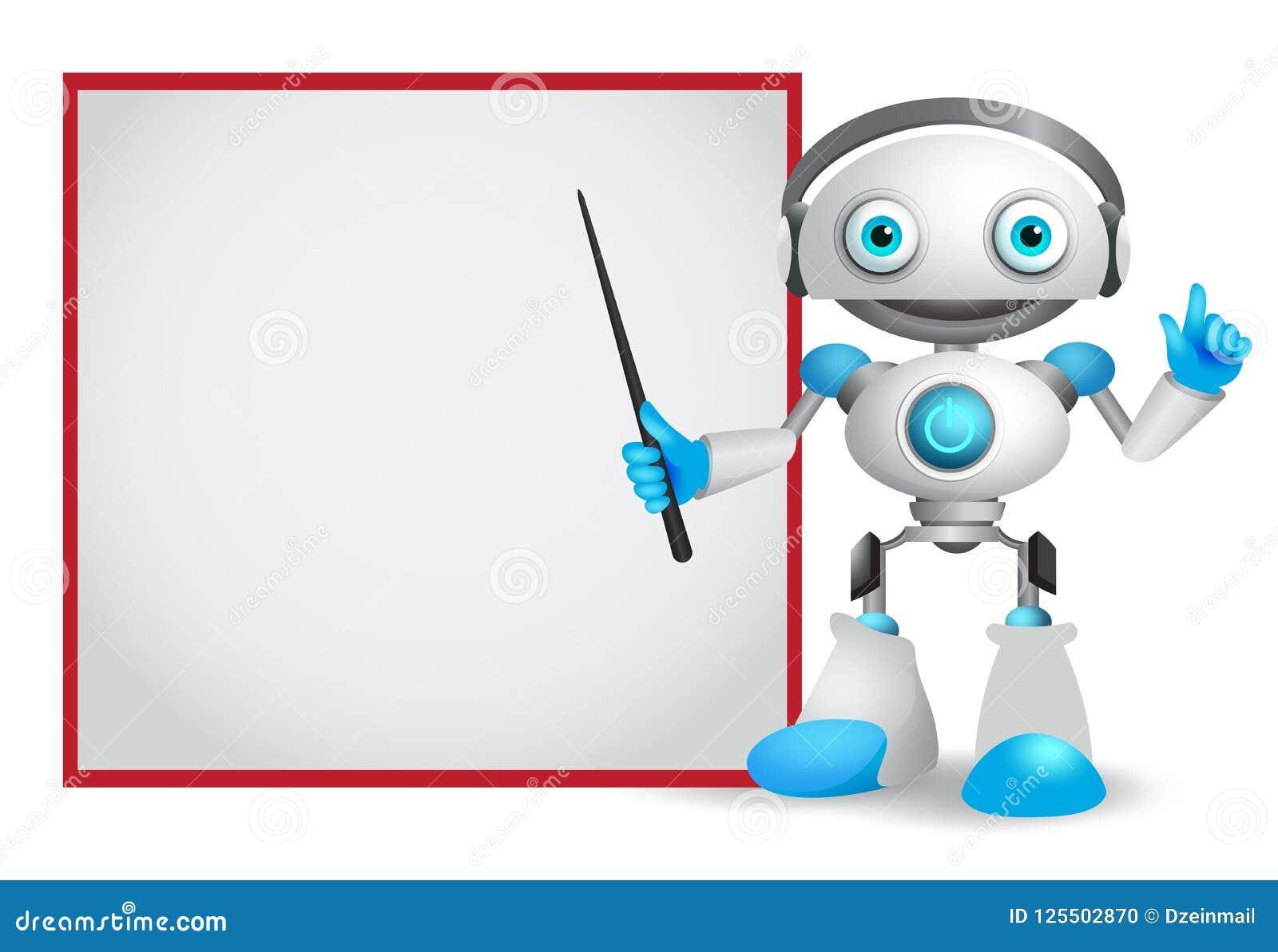 Illustrazione di vettore del carattere del robot con il gesto amichevole che insegna o che mostra alla tecnologia