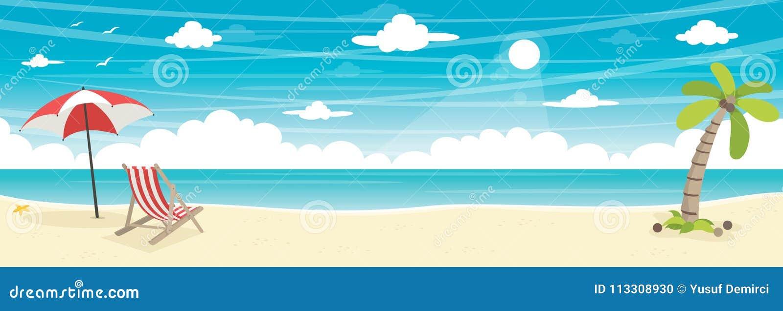 Illustrazione di vettore del fondo della spiaggia di estate