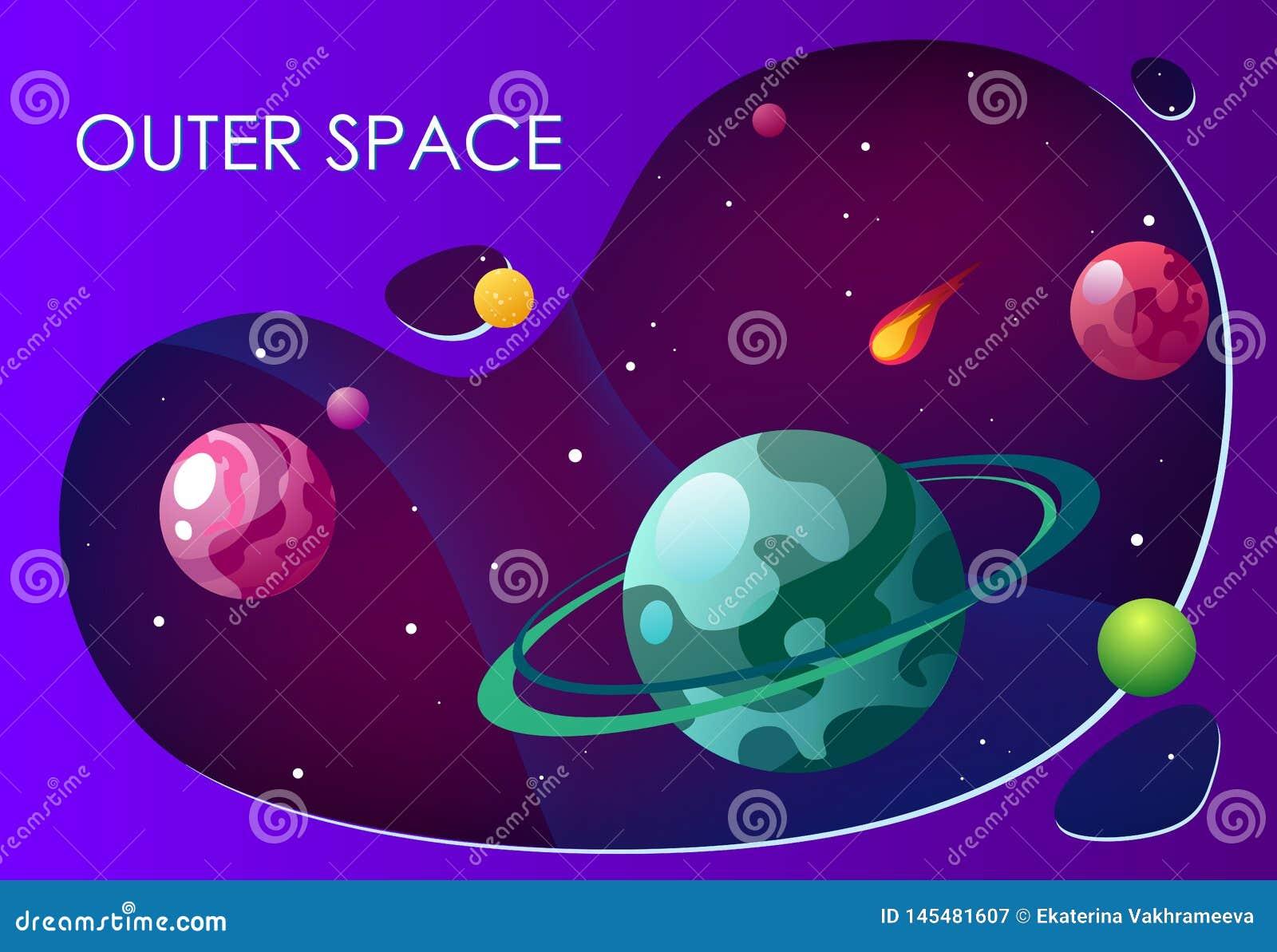 Illustrazione di vettore del fumetto con spazio cosmico Galassia del fondo di vettore