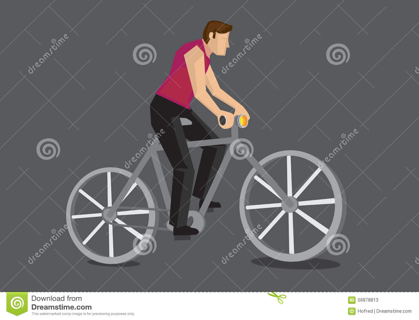 Illustrazione di vettore del fumetto del pendolare della bicicletta