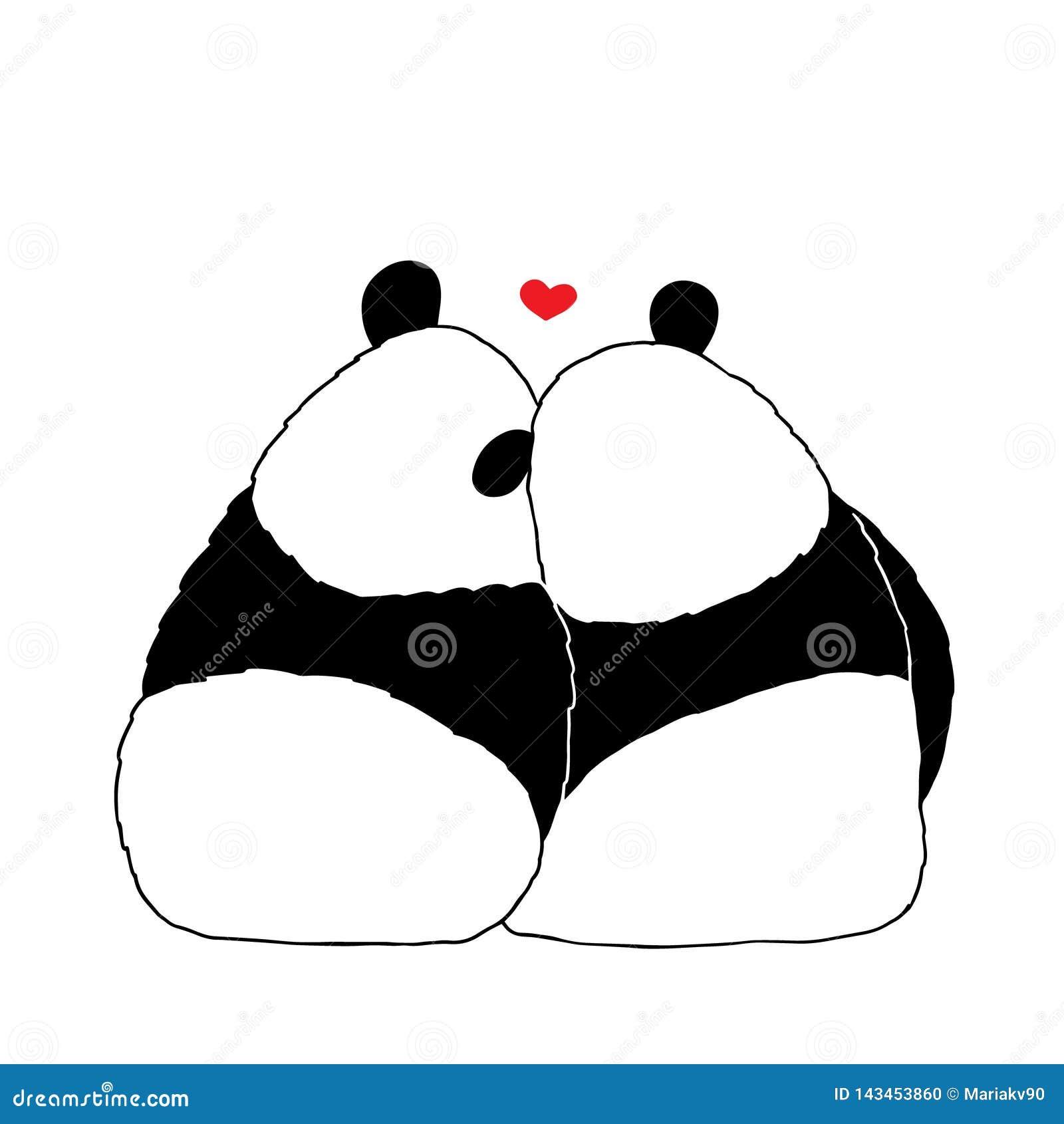 Illustrazione di vettore del panda adorabile del fumetto che si siede insieme sul fondo bianco Piccolo panda sveglio romantico fe