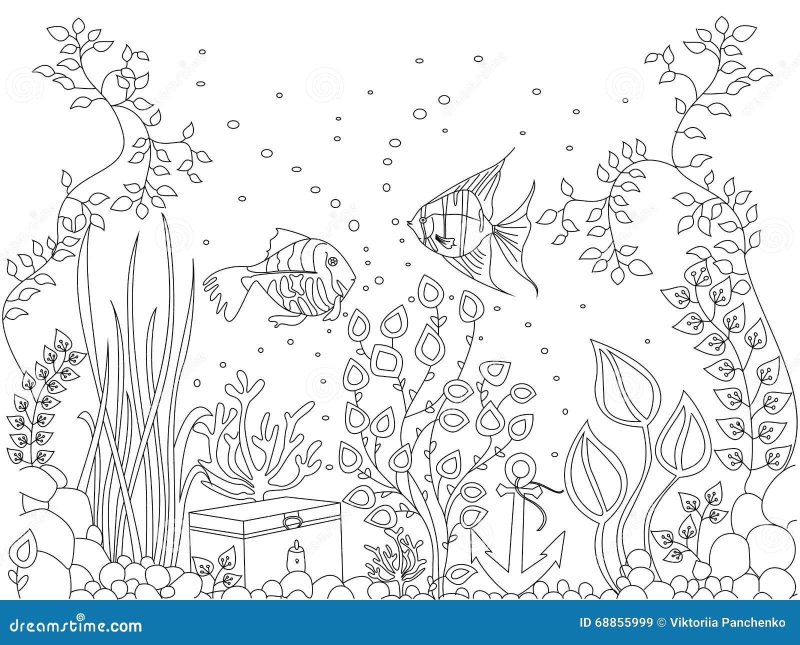 Illustrazione di vettore del pesce del fondale marino di for Pesci da stampare e colorare