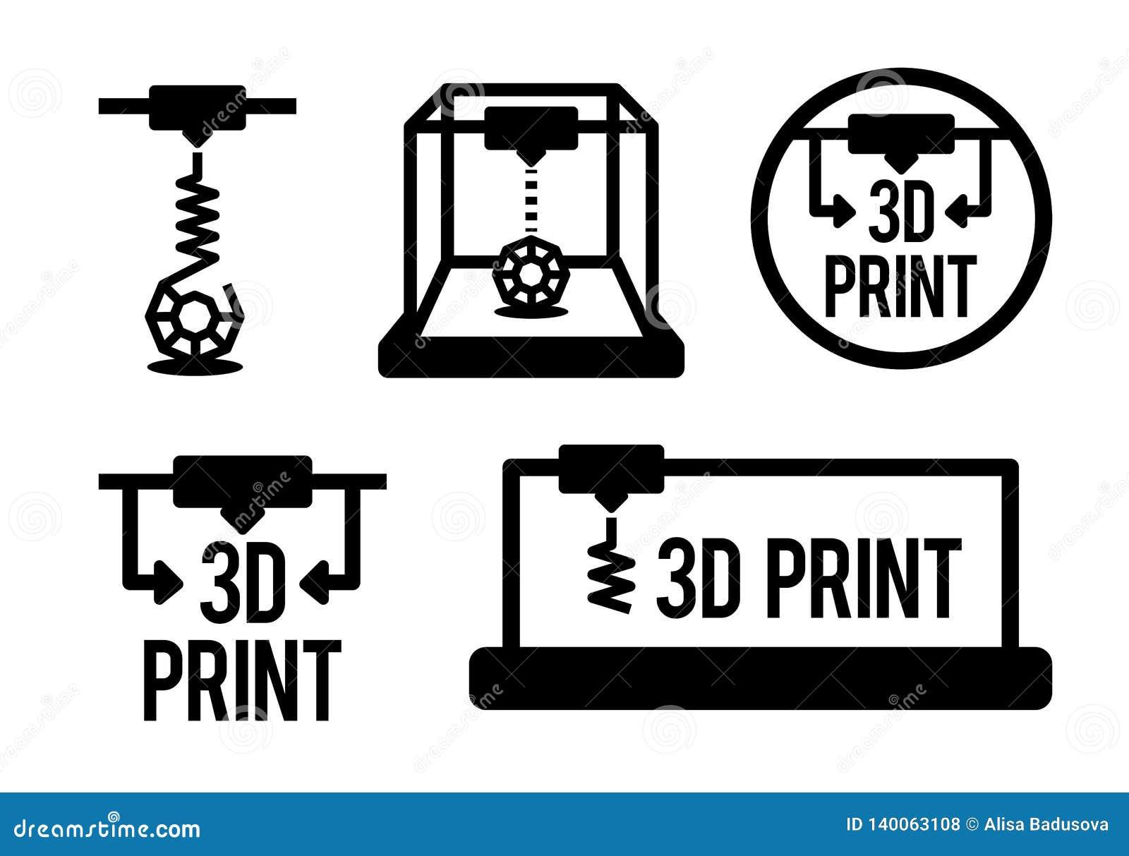Illustrazione di vettore del processo di stampa 3d nel colore nero isolata sul fondo del vhite