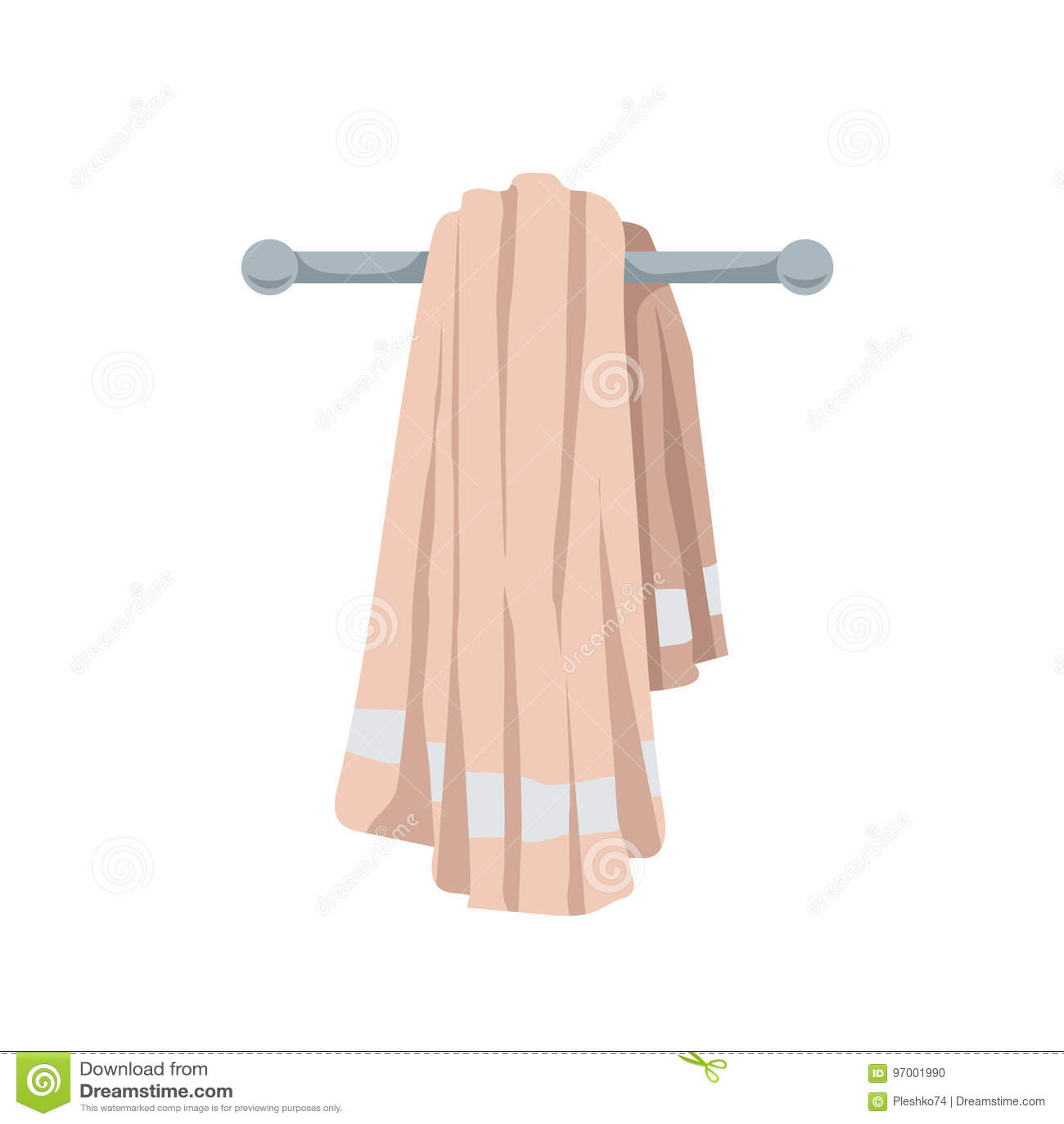 Illustrazione di vettore dell asciugamano piegato del cotone Stile piano d avanguardia del fumetto Bagno, spiaggia, stagno ed ico