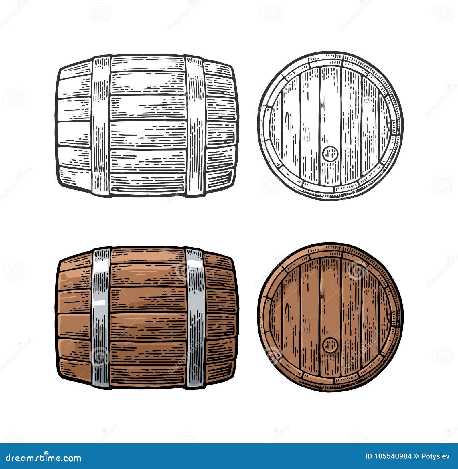 Illustrazione di vettore dell incisione di vista laterale anteriore e del barilotto di legno