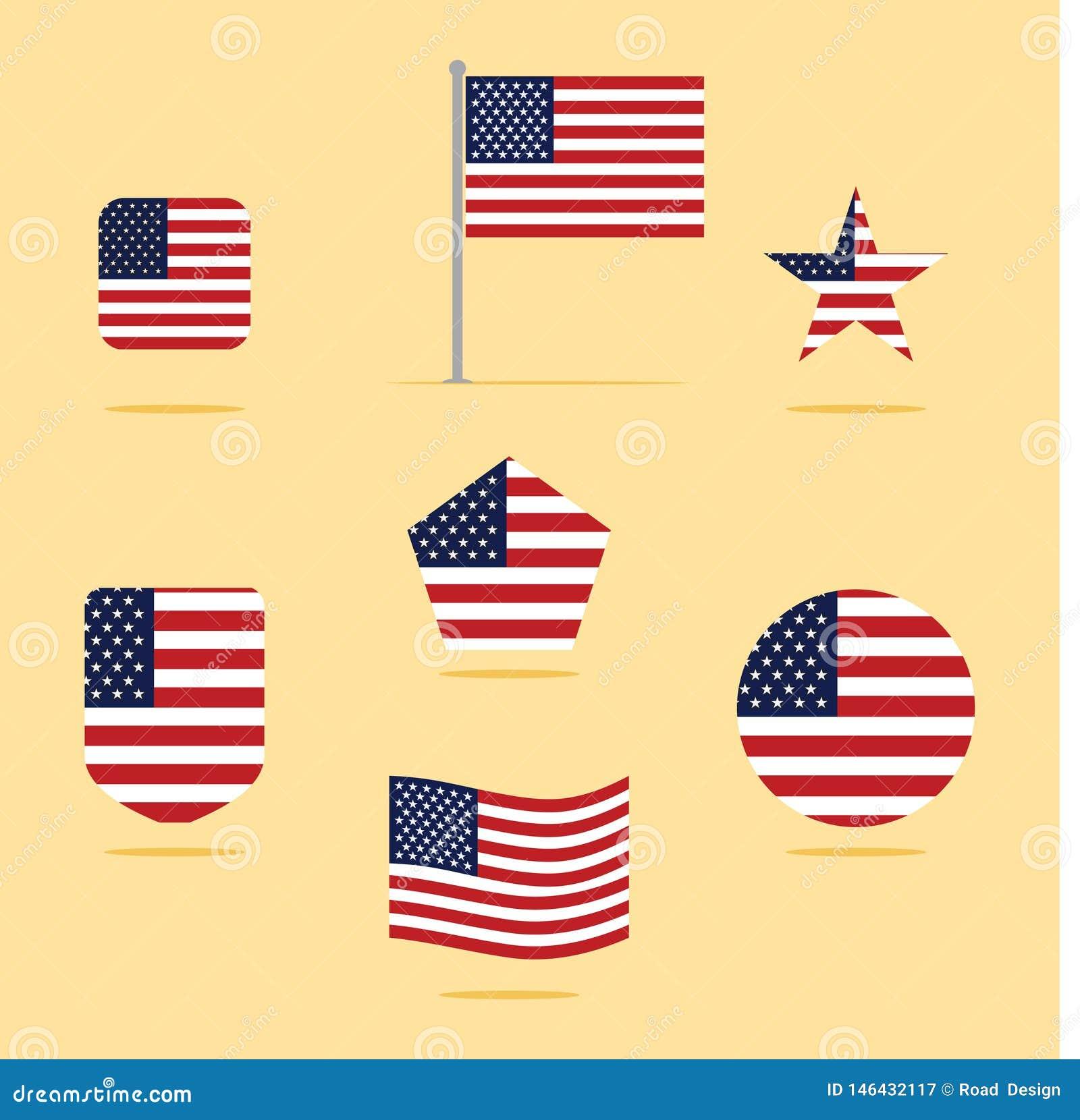 Illustrazione di vettore dell insieme dell icona della bandiera americana