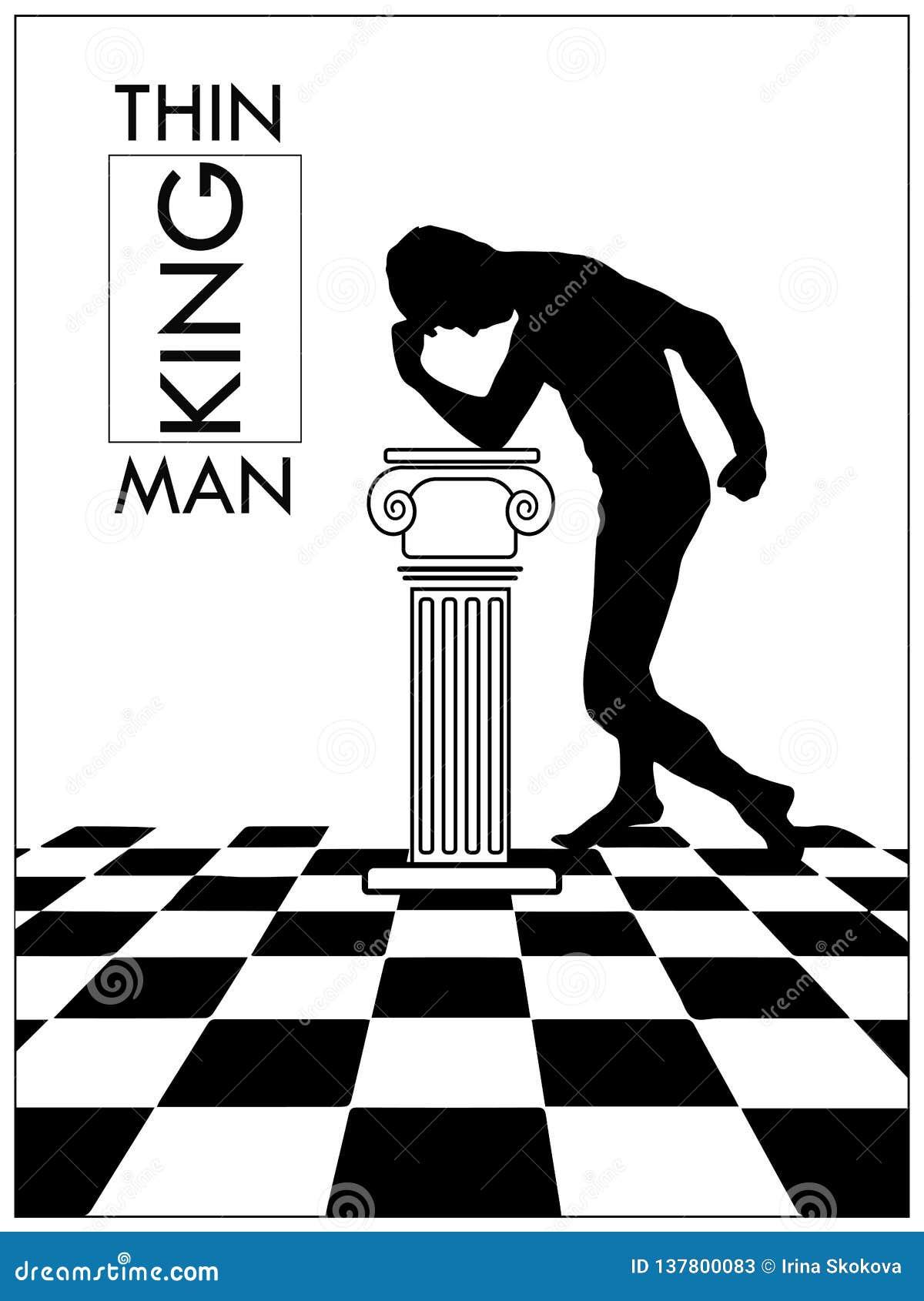 Illustrazione di vettore dell uomo di pensiero in un corridoio antico