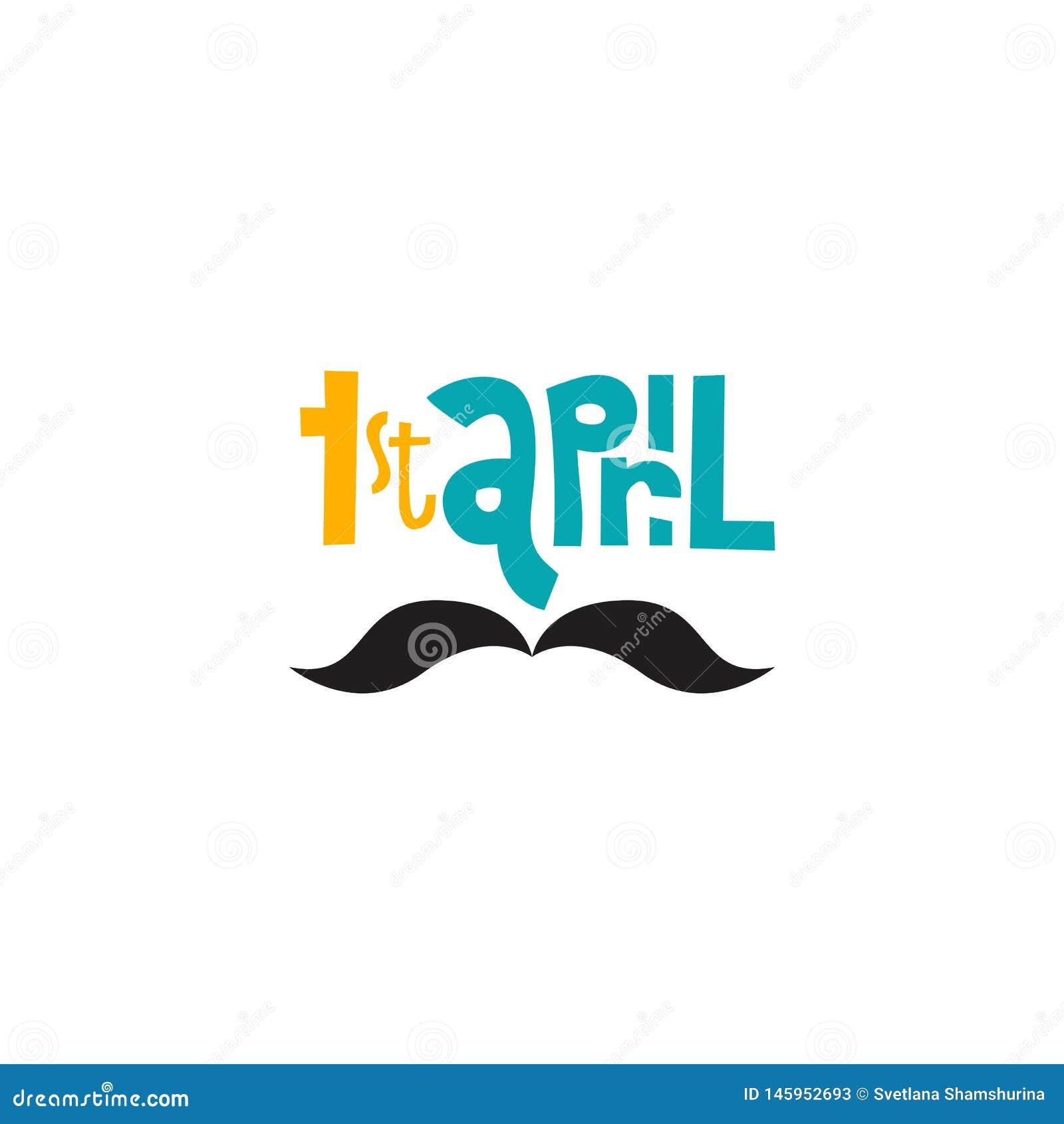 Illustrazione di vettore della cartolina d auguri del giorno degli sciocchi felici su fondo bianco primo di lettring disegnato a