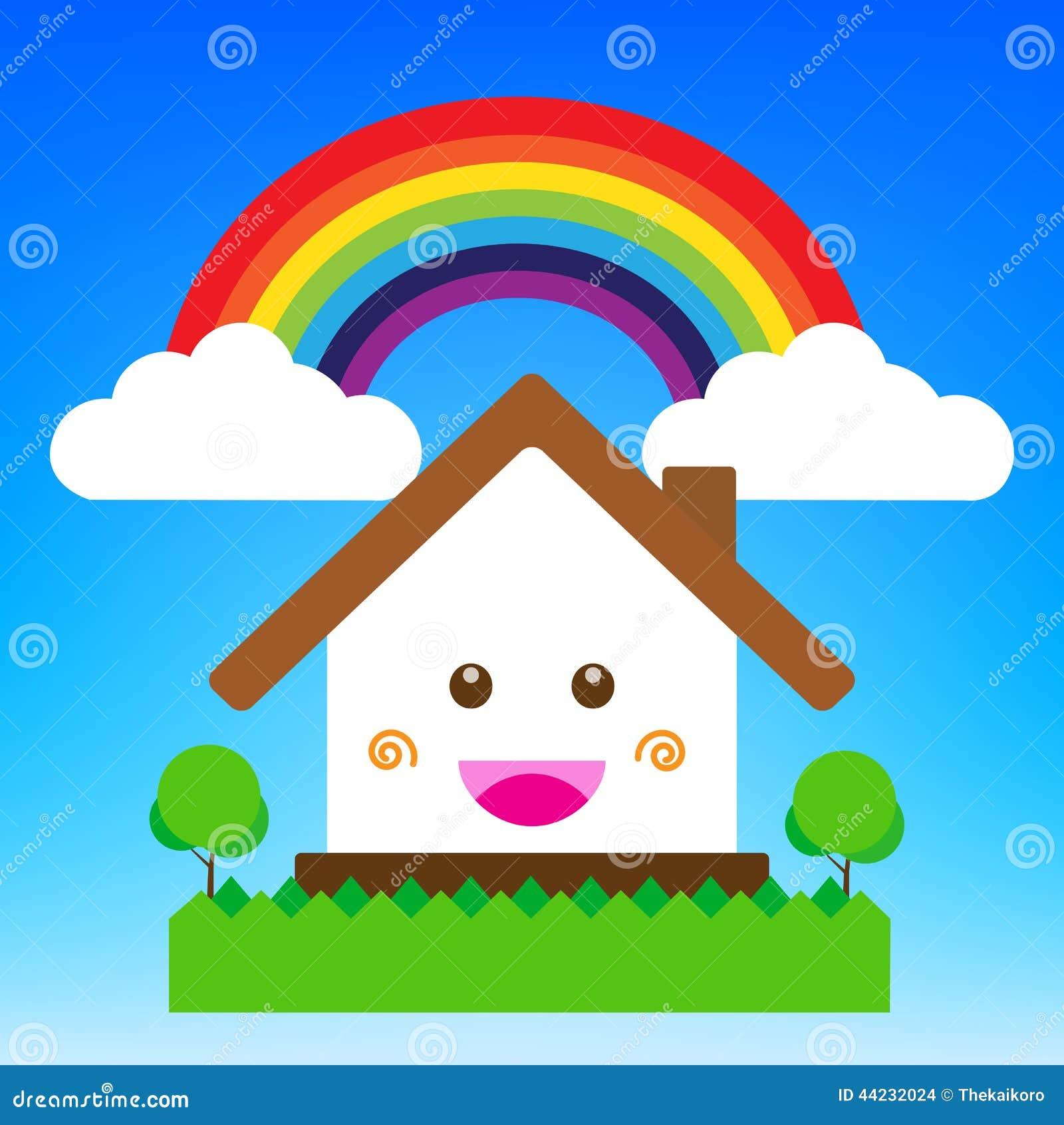 Illustrazione di vettore della casa del fumetto di sorriso for Mappa della costruzione di casa