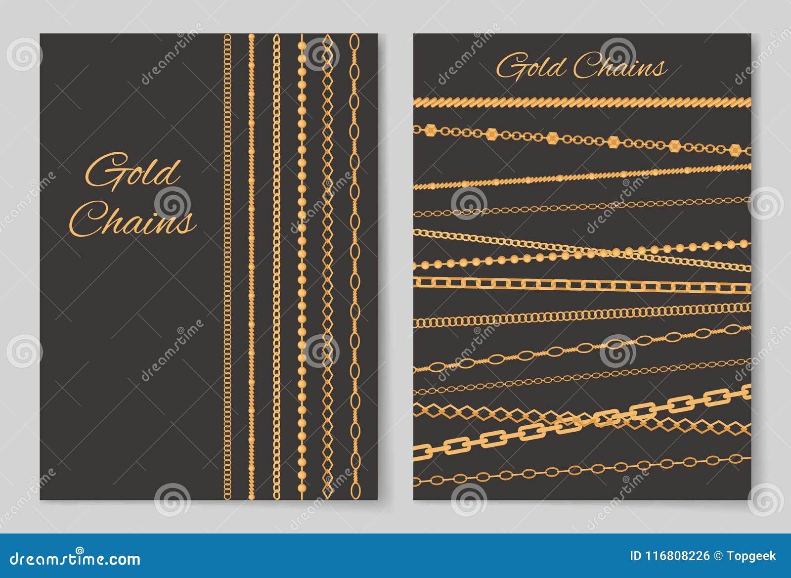 Illustrazione di vettore della copertura della raccolta delle catene dell oro