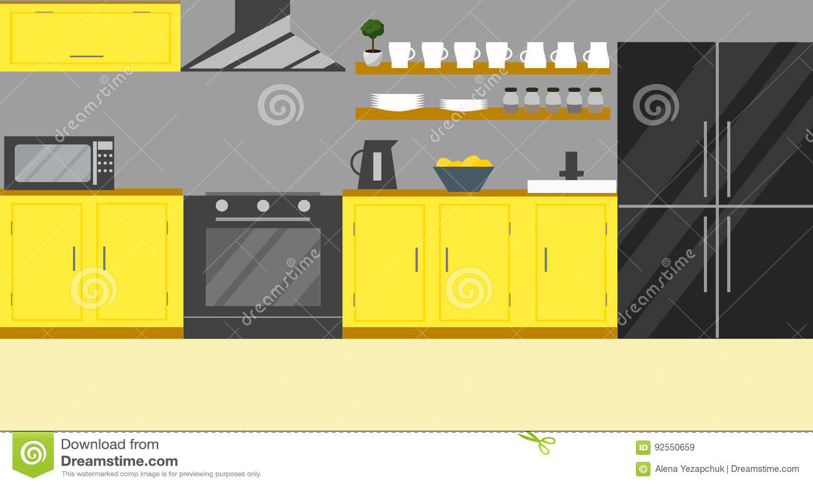 Illustrazione di vettore della cucina Progettazione piana