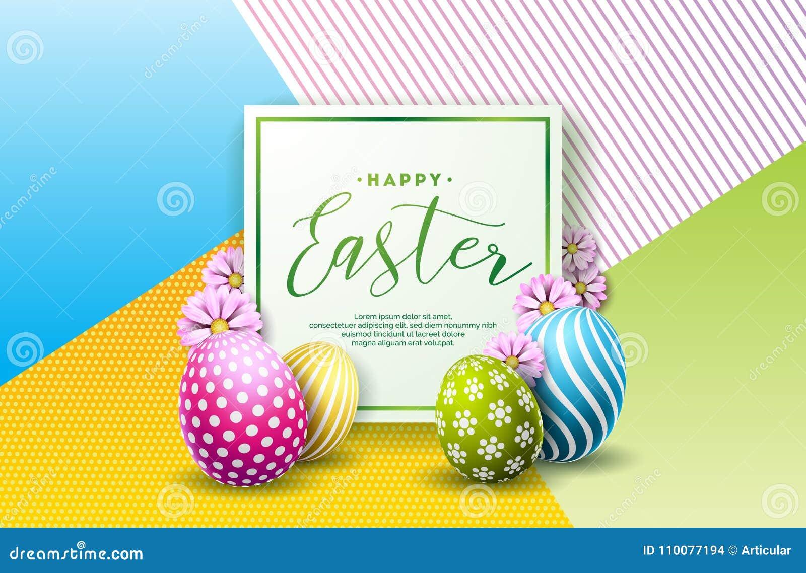 Illustrazione di vettore della festa felice di Pasqua con l uovo ed il fiore dipinti su fondo pulito Celebrazione internazionale