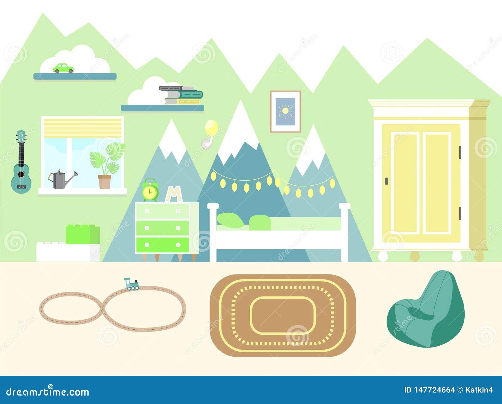 Illustrazione di vettore della stanza dei bambini nello stile piano con il guardaroba, i libri, la chitarra delle ukulele, il let
